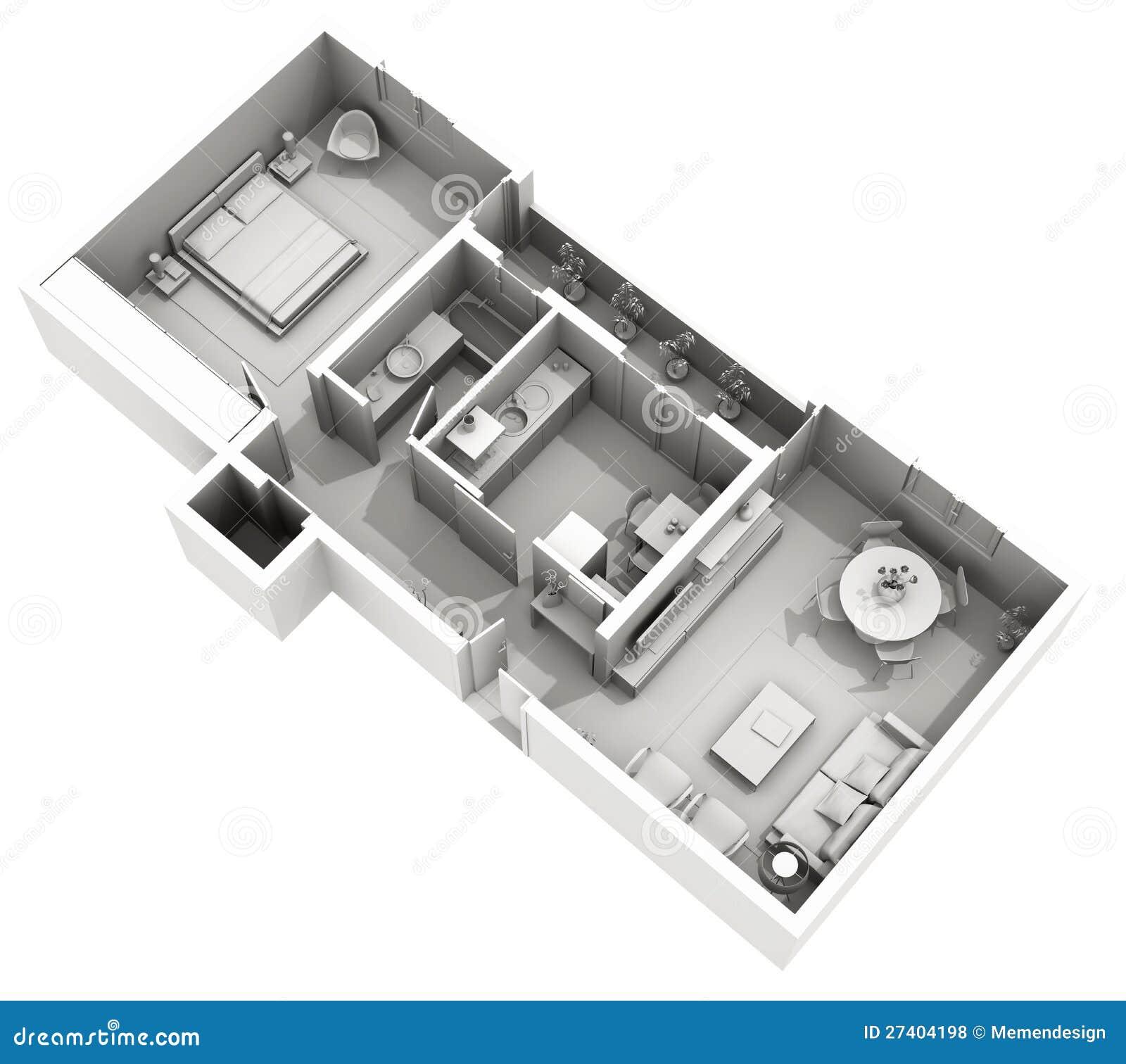 Innenarchitektur - Haus Des Lehms 3d - Gemütliche Wohnung Stock ...