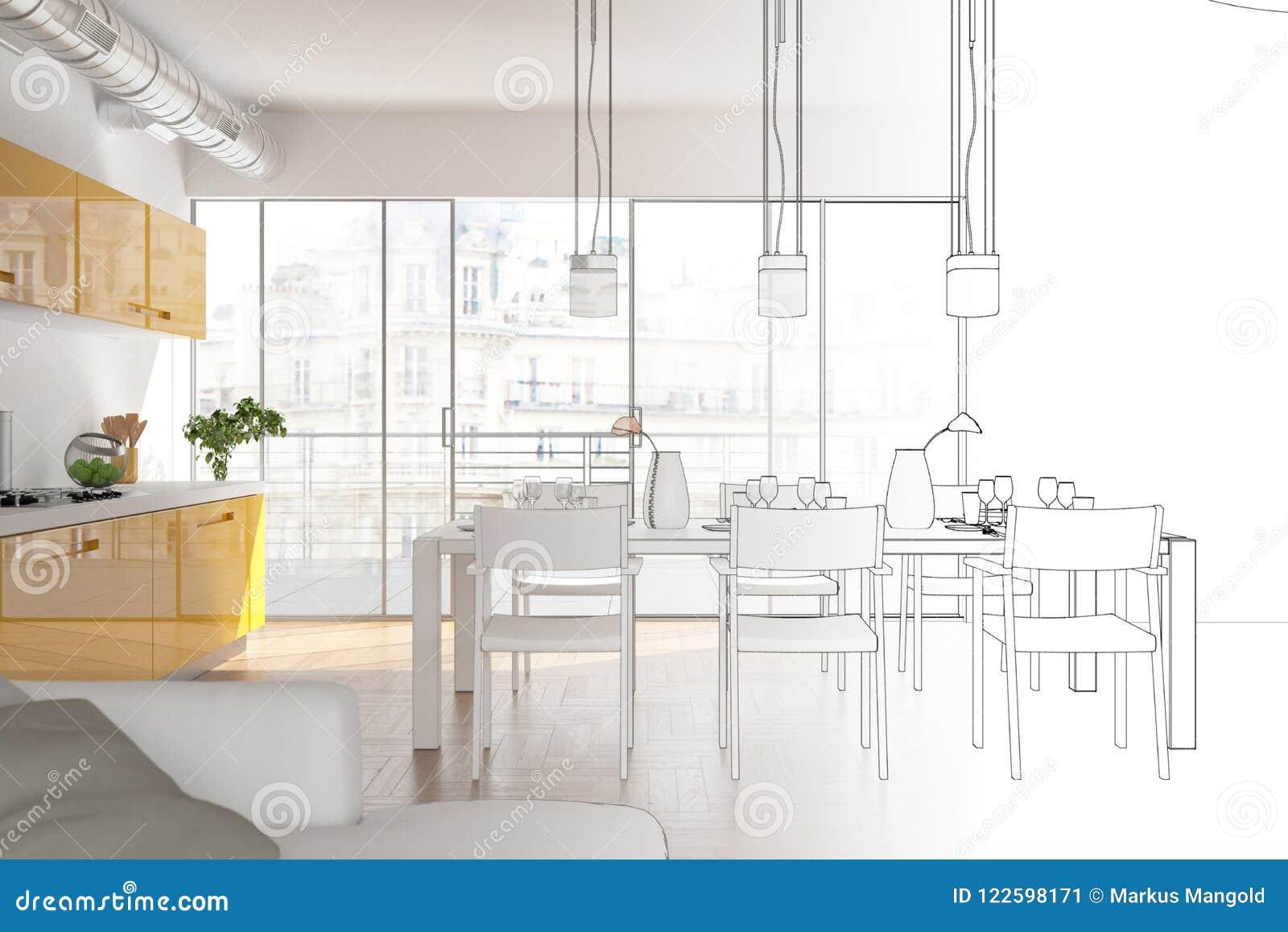 Innenarchitektur-moderne Dachboden-Zeichnungs-Abstufung in Fotografie