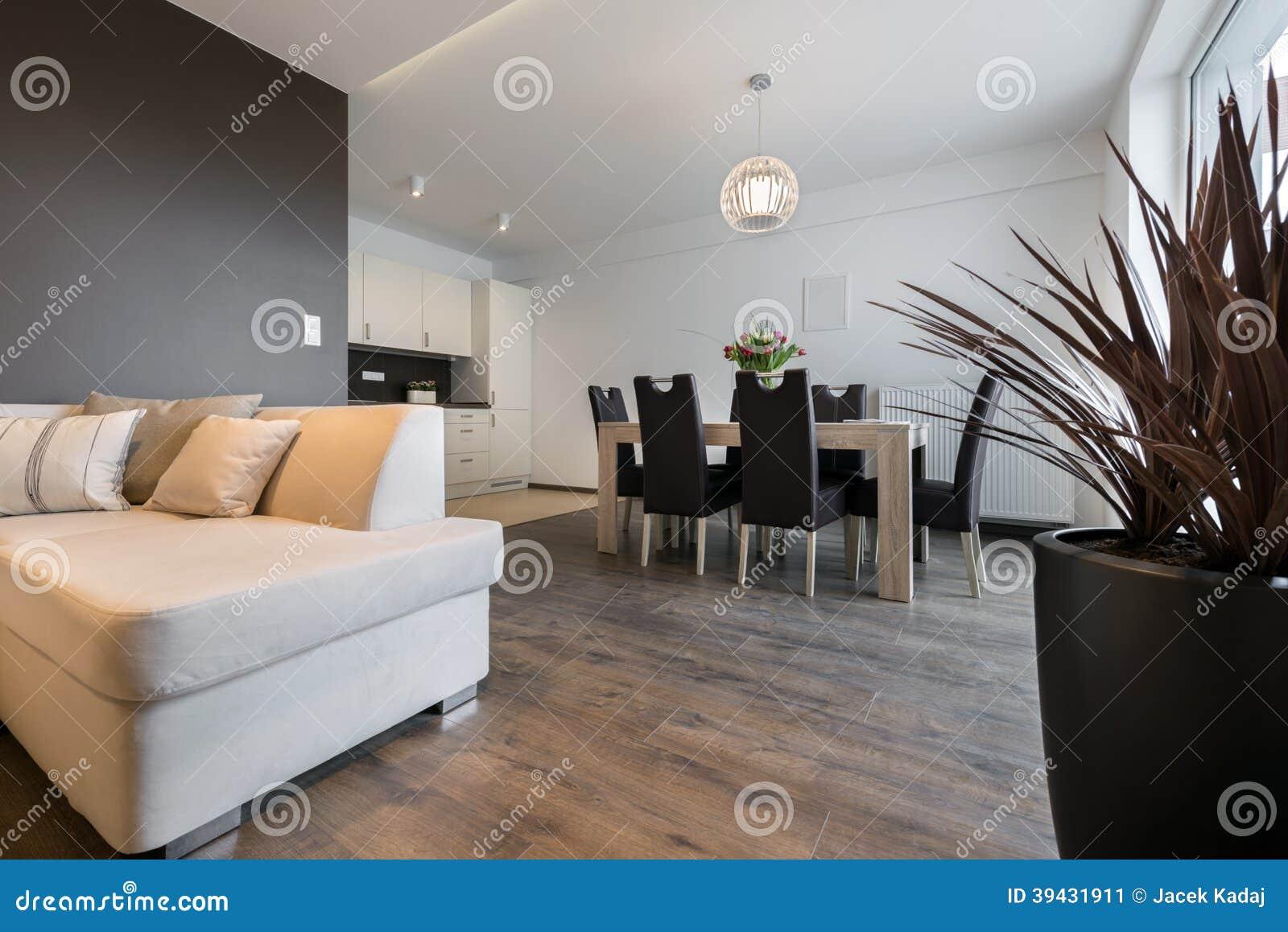 Innenarchitektur: Wohnzimmer Und Küche Stockbild - Bild von fußboden ...