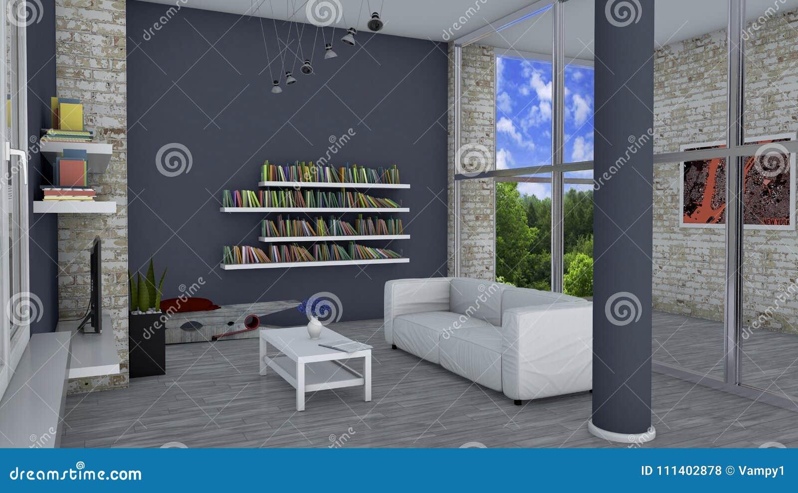 Innenarchitektur, Wohnzimmer Und Moderne Möbel, Backsteinmauer ...