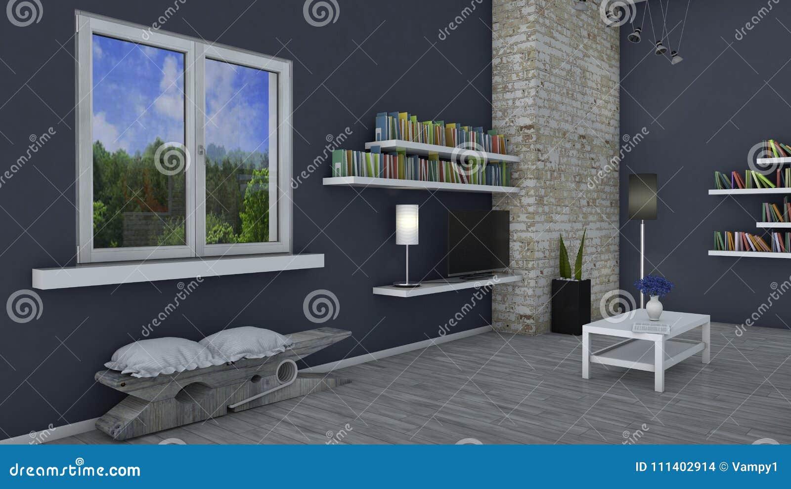 Innenarchitektur, Wohnzimmer Und Moderne Möbel, Backsteinmauer, Fenster,  Das Einen Park übersieht Prestigevolles