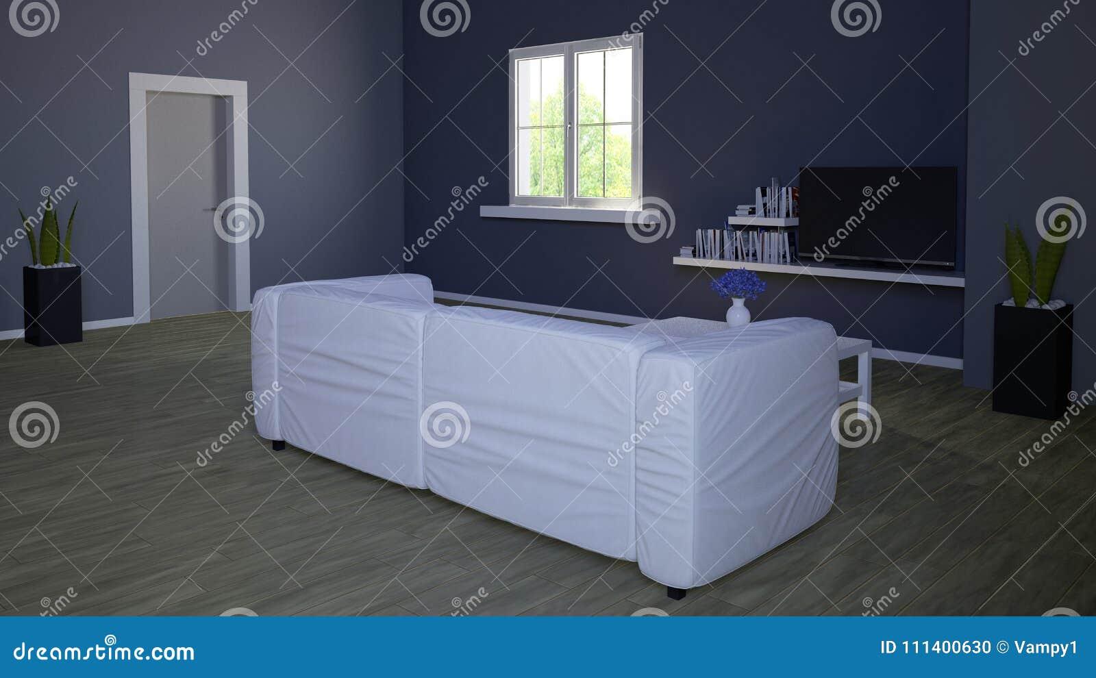 Innenarchitektur Wohnzimmer Und Moderne Mobel Blaue Wand Fenster