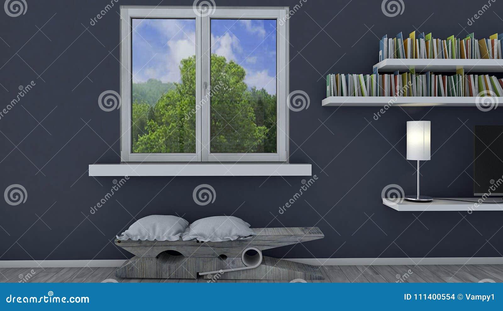Download Innenarchitektur, Wohnzimmer Und Moderne Möbel, Fenster, Das Einen  Park übersieht Prestigevolles Penthaus