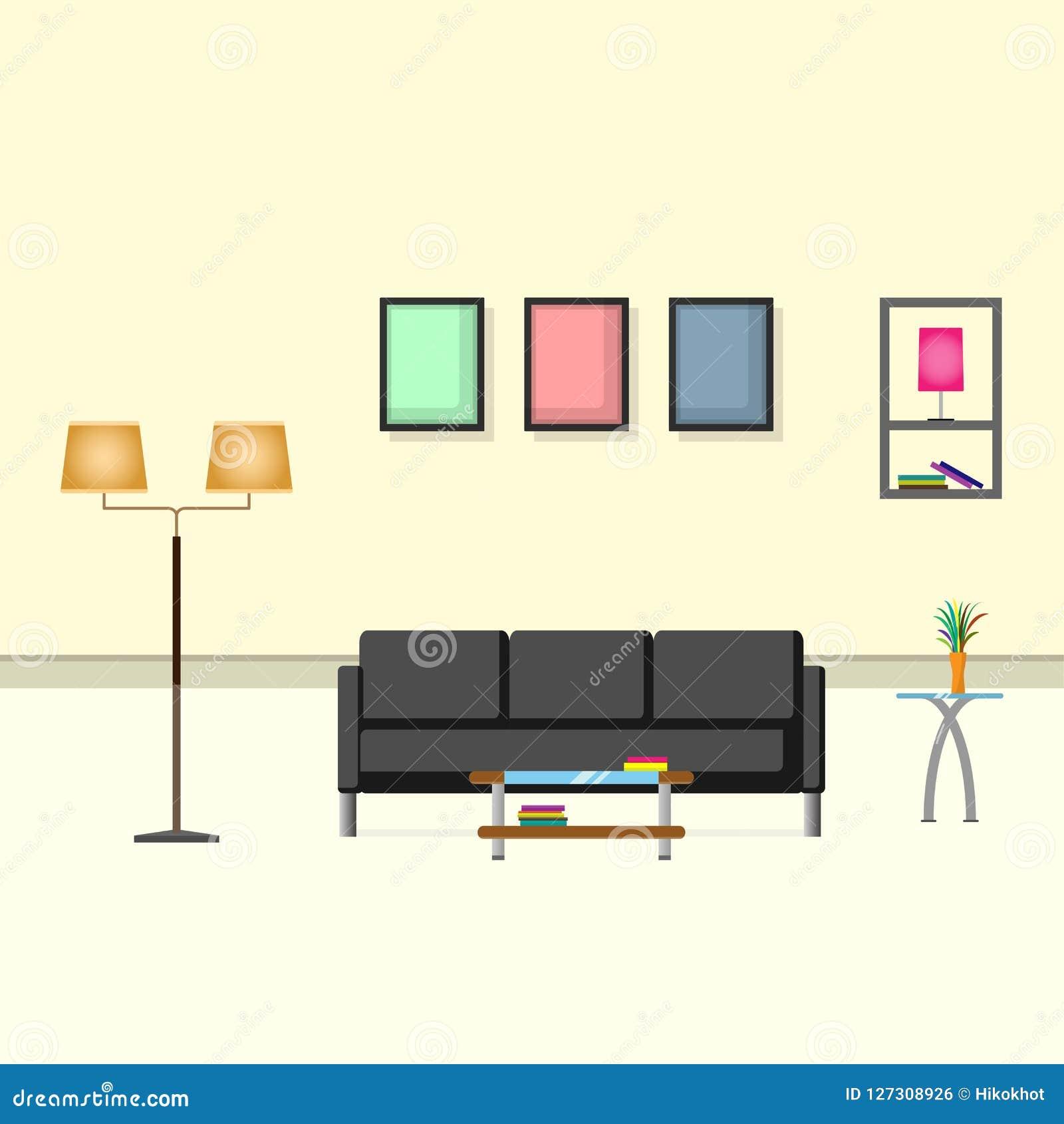 Innenarchitekturcremefarbwohnzimmer mit Sofa, Lampe, Vase und Bilderrahmen