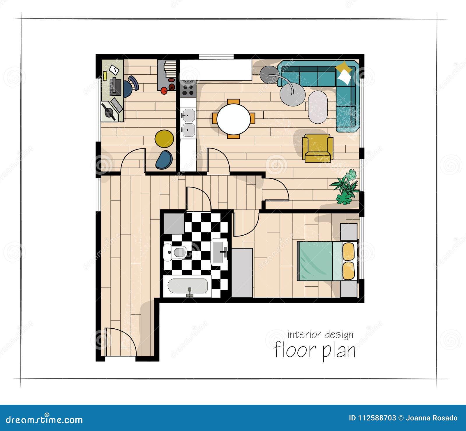 Ikonen Stellten Von Den Innenelementen, Draufsicht Ein Möbel Und Elemente  Für Wohnzimmer, Küche, Schlafzimmer, Badezimmer