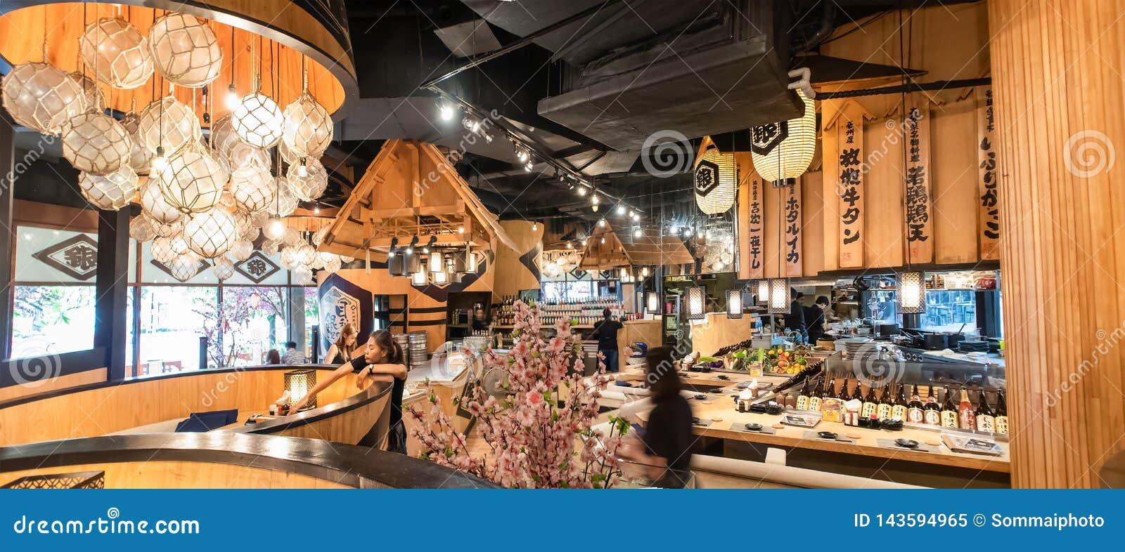 Innenausstattung des japanischen Restaurants an K Straße Klong Toei Bangkok Thailand Dorf-Gemeinschaftsmall Rama 4