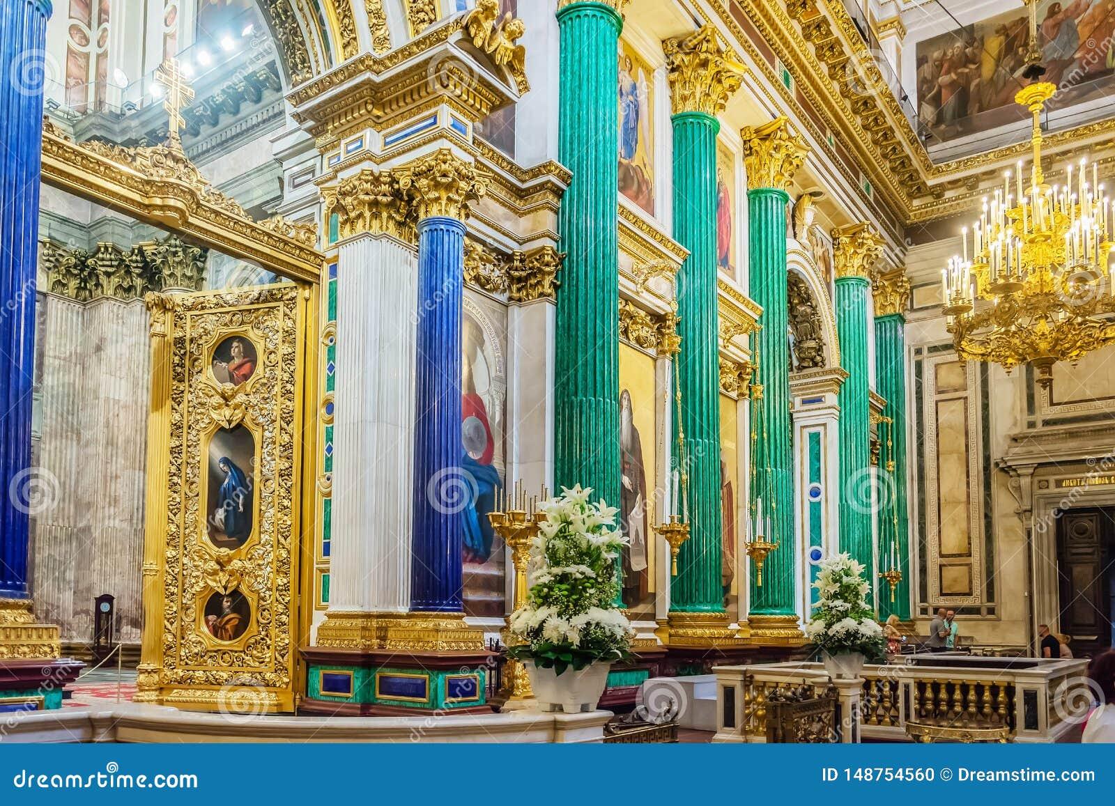 Innenausstattung von Kathedrale St. Isaacs, St Petersburg, Russland