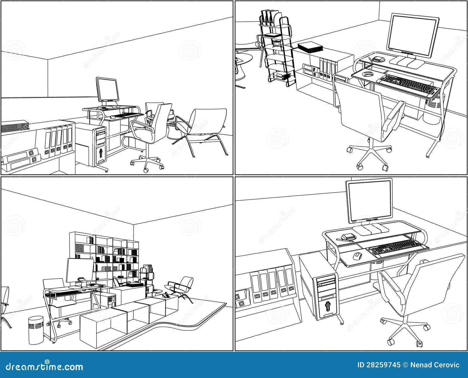 Innenbüro-Raum-Vektor 11