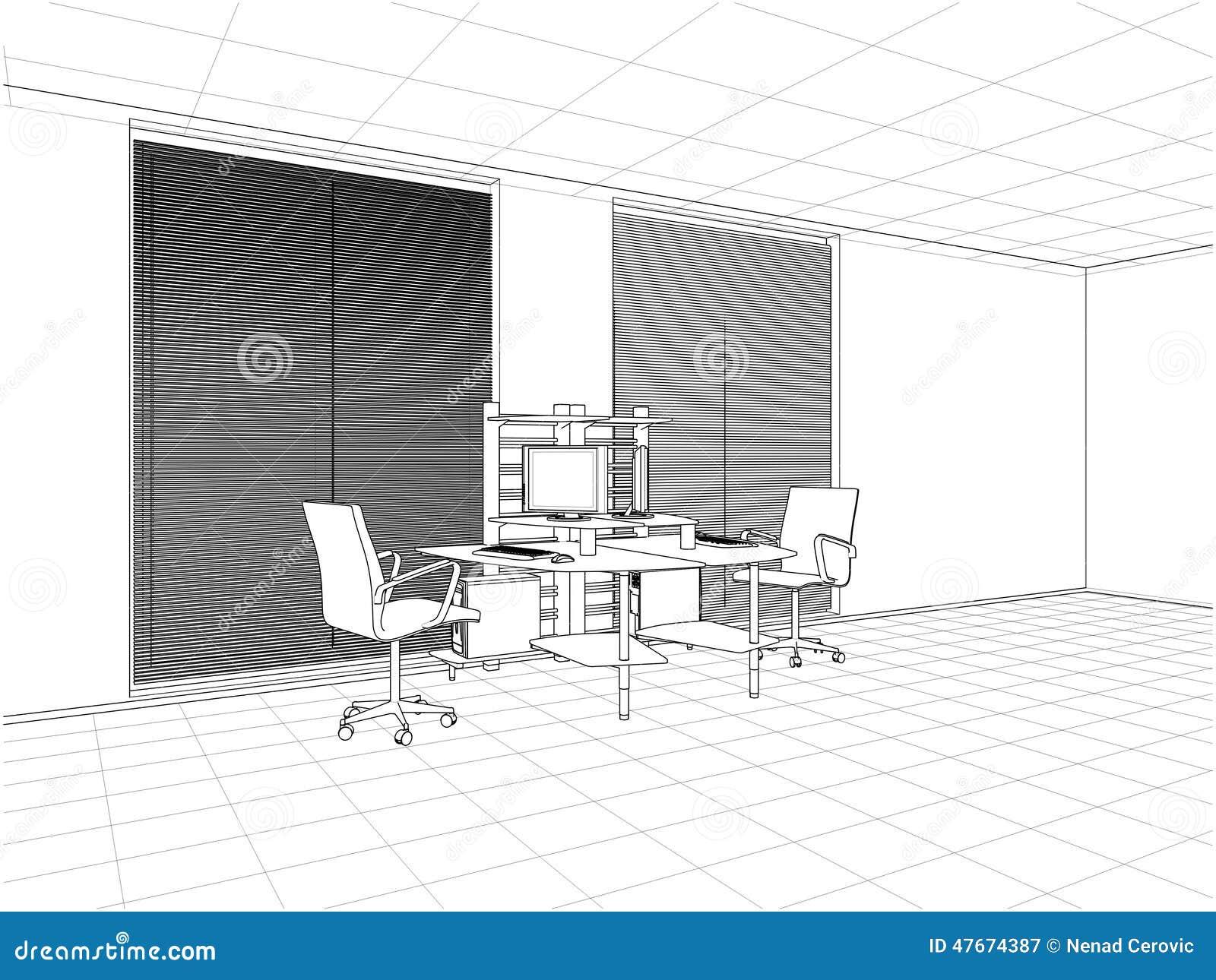 Innenbüro-Raum-Vektor