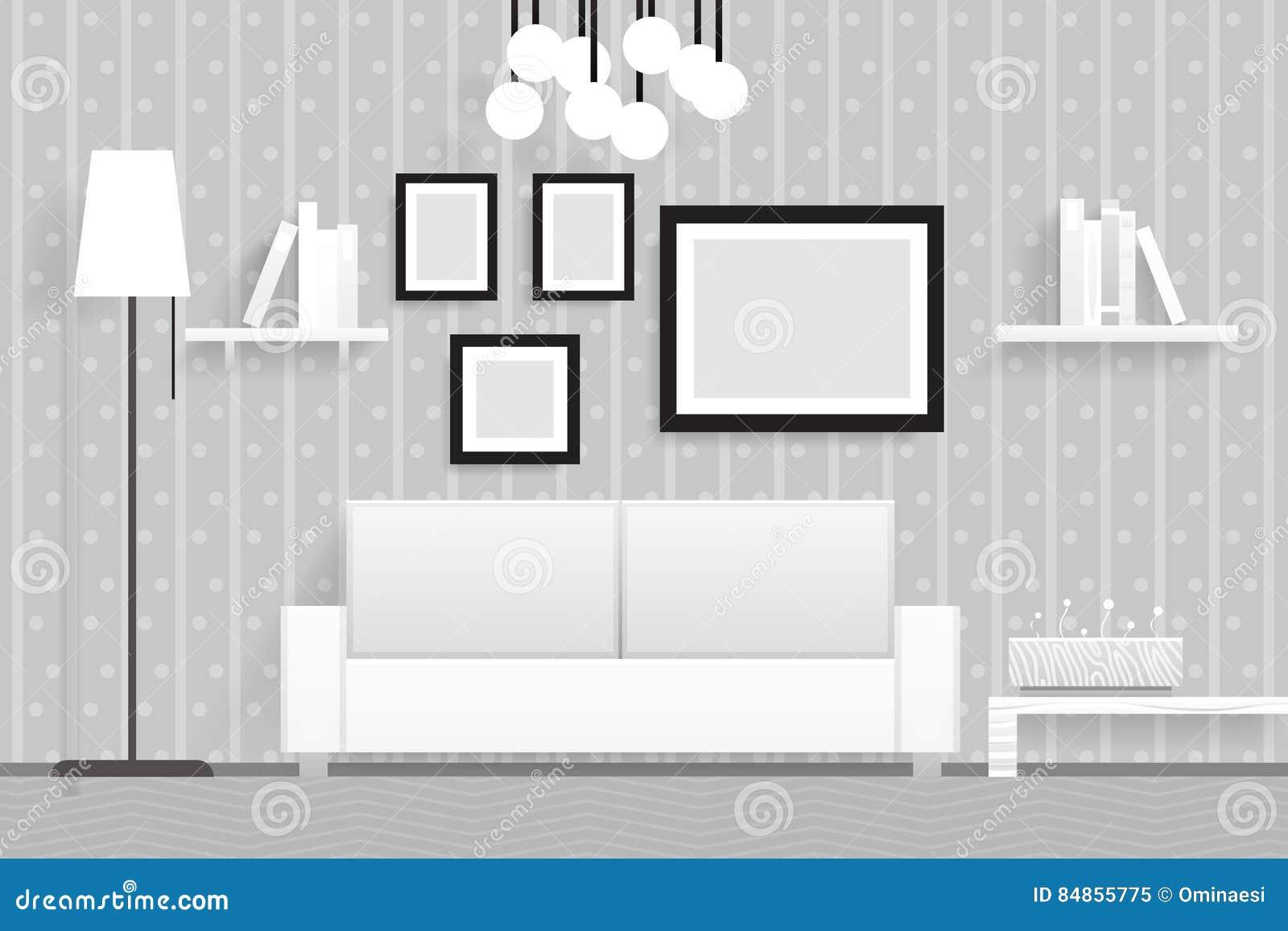 Innendesign-Vektor-Illustration Der Wohnzimmer-Möbel-3d Realistische ...