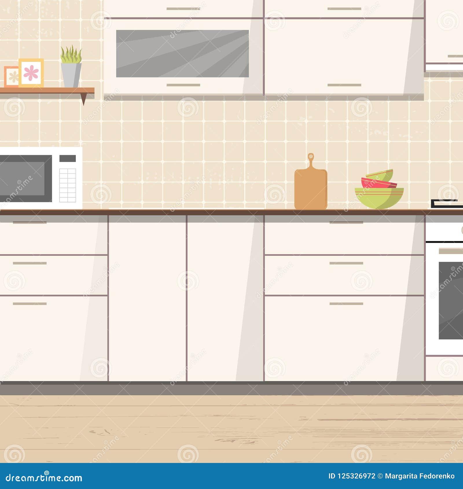 Ofen Küche | Innenhintergrund Der Weissen Kuche Mit Mobeln Und Ofen Vektor