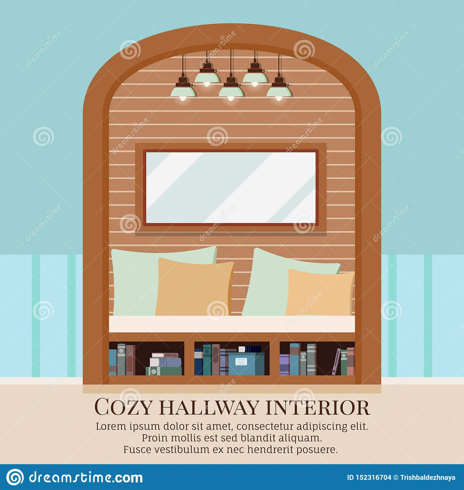 Innenhintergrund des gemütlichen einfachen Hauptkorridors mit Möbeln und gewölbte Pause in der Wand