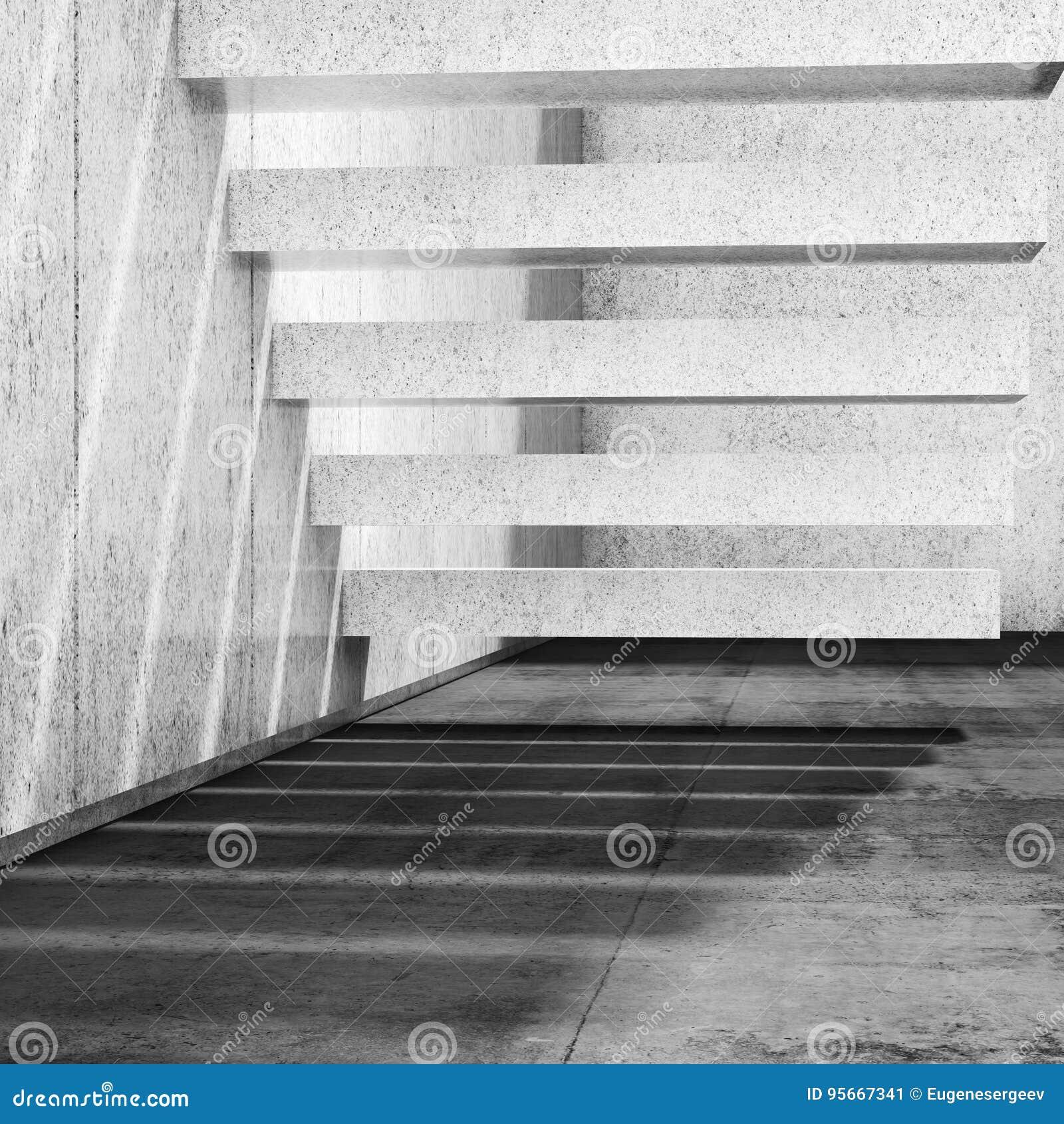 Innenhintergrund mit konkreter Treppe auf Wand 3d