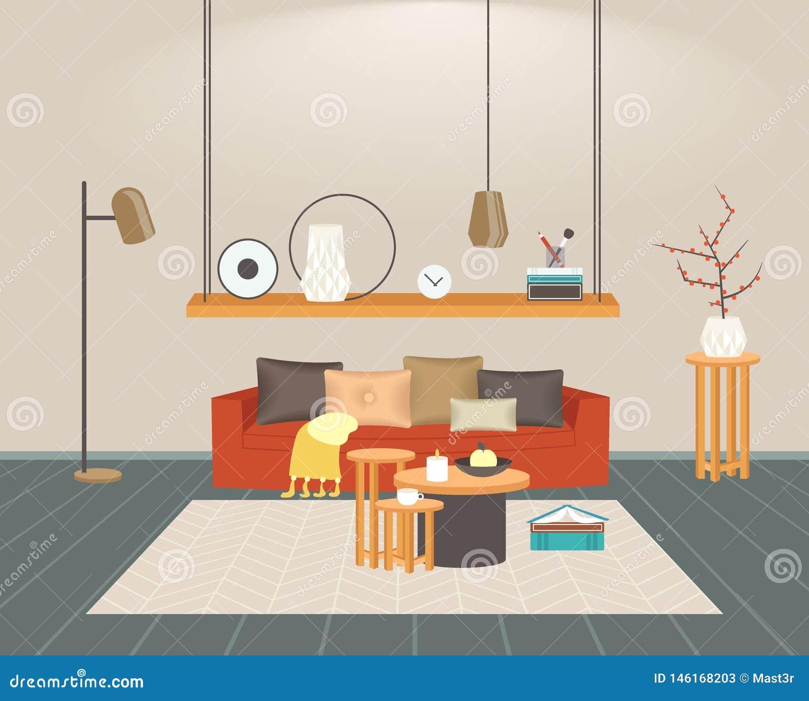 Innenleeres des zeitgen?ssischen Wohnzimmers kein moderner Wohnungshauptentwurf der Leute flach horizontal