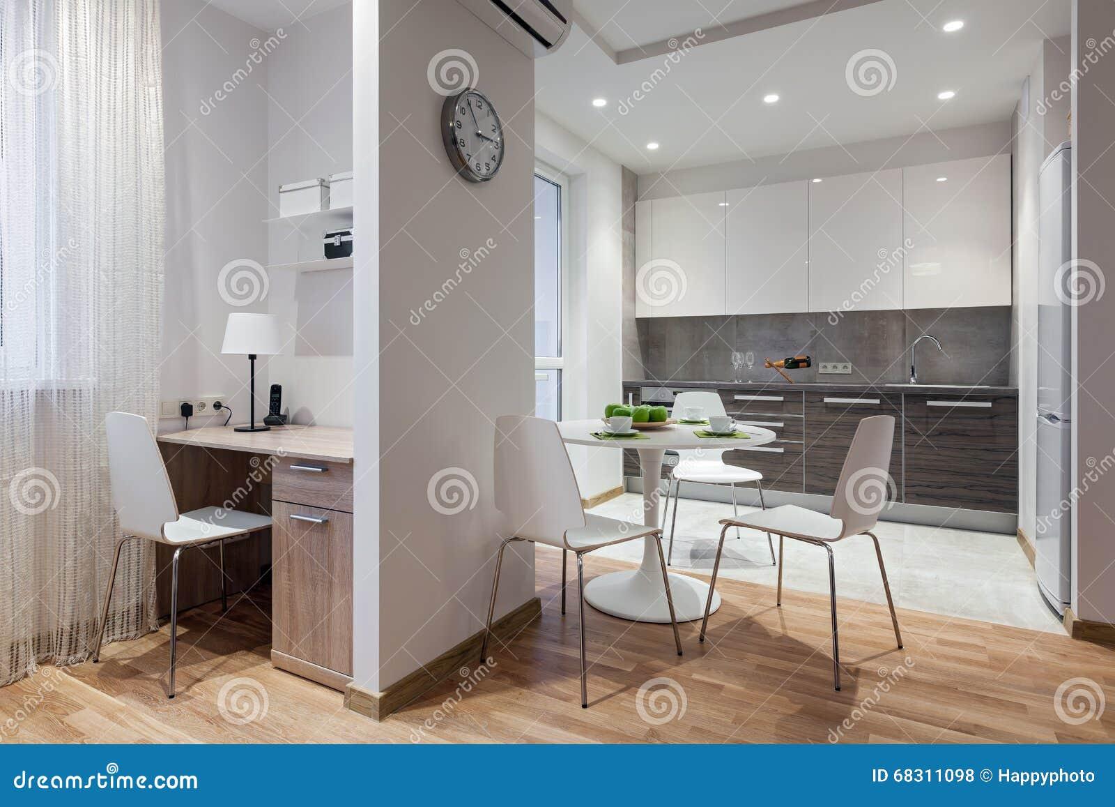 Innenraum Der Modernen Wohnung In Der Skandinavischen Art Mit Küche ...