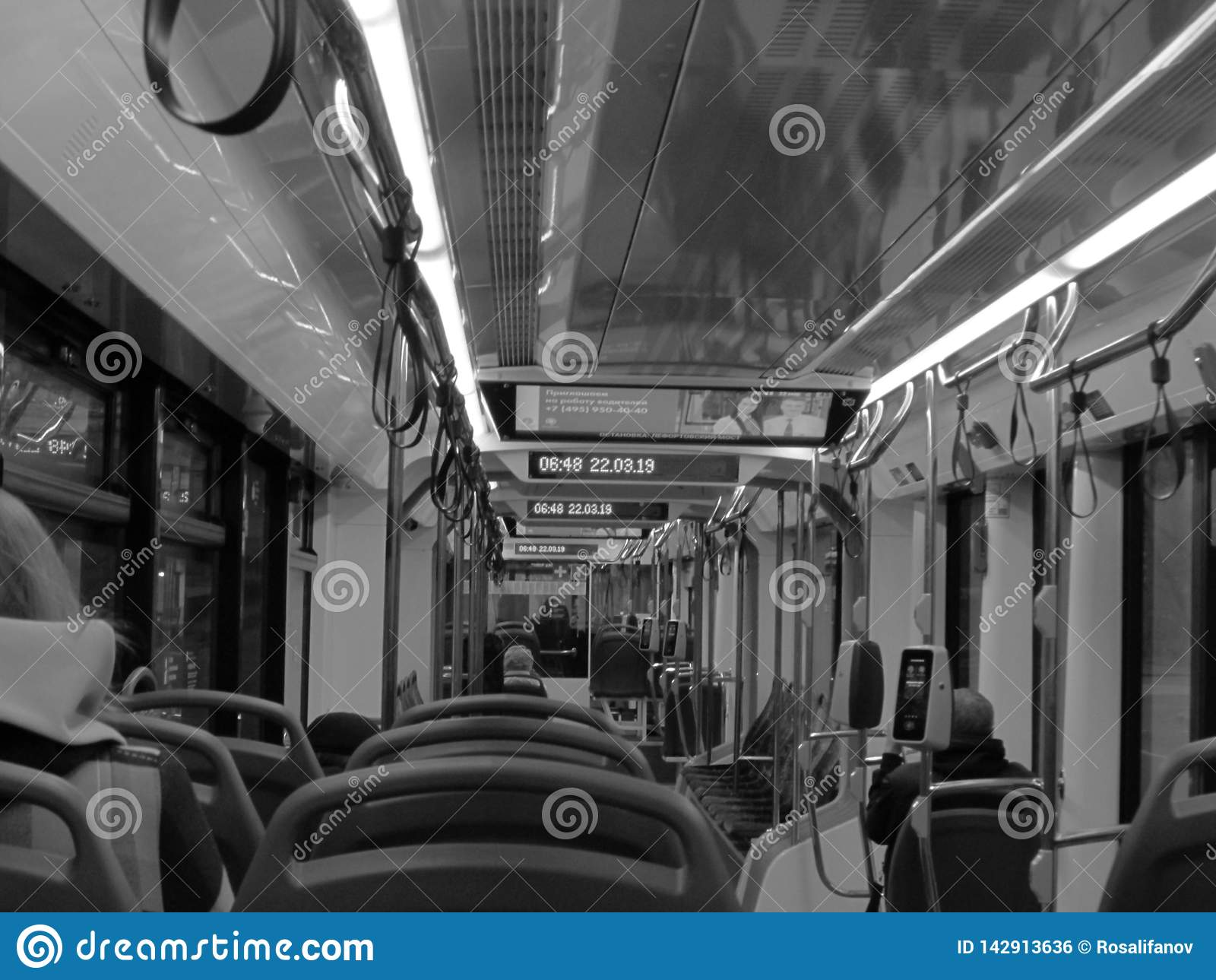 Innenraum der Tram in B/W