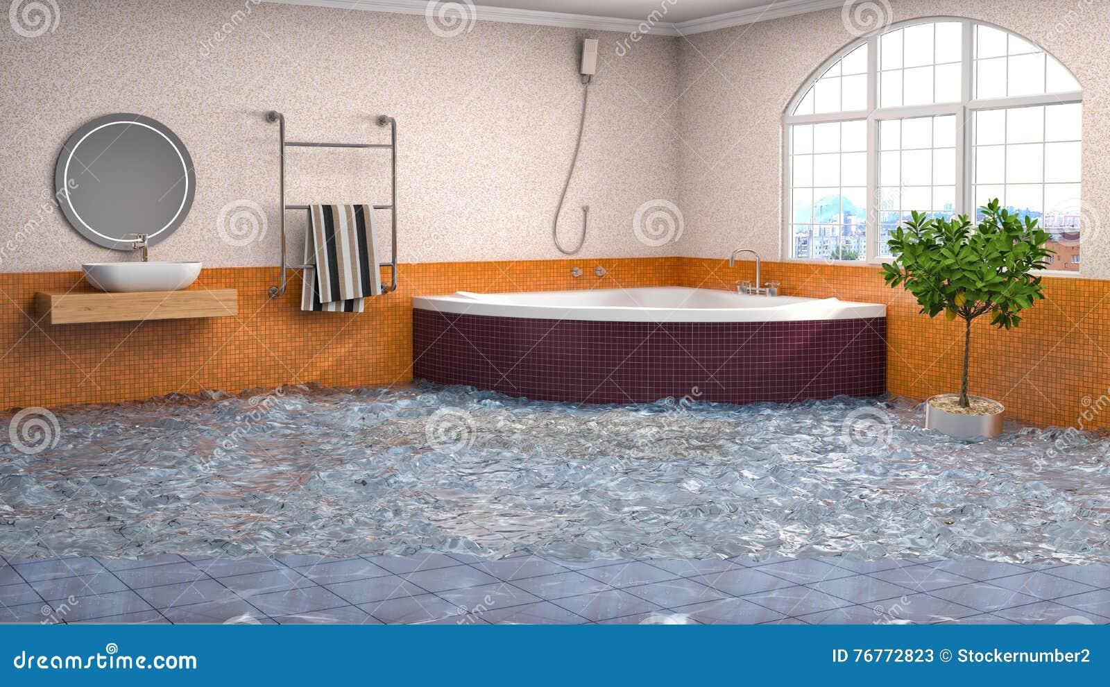 innenraum des hauses überschwemmt mit wasser abbildung 3d stock, Badezimmer ideen