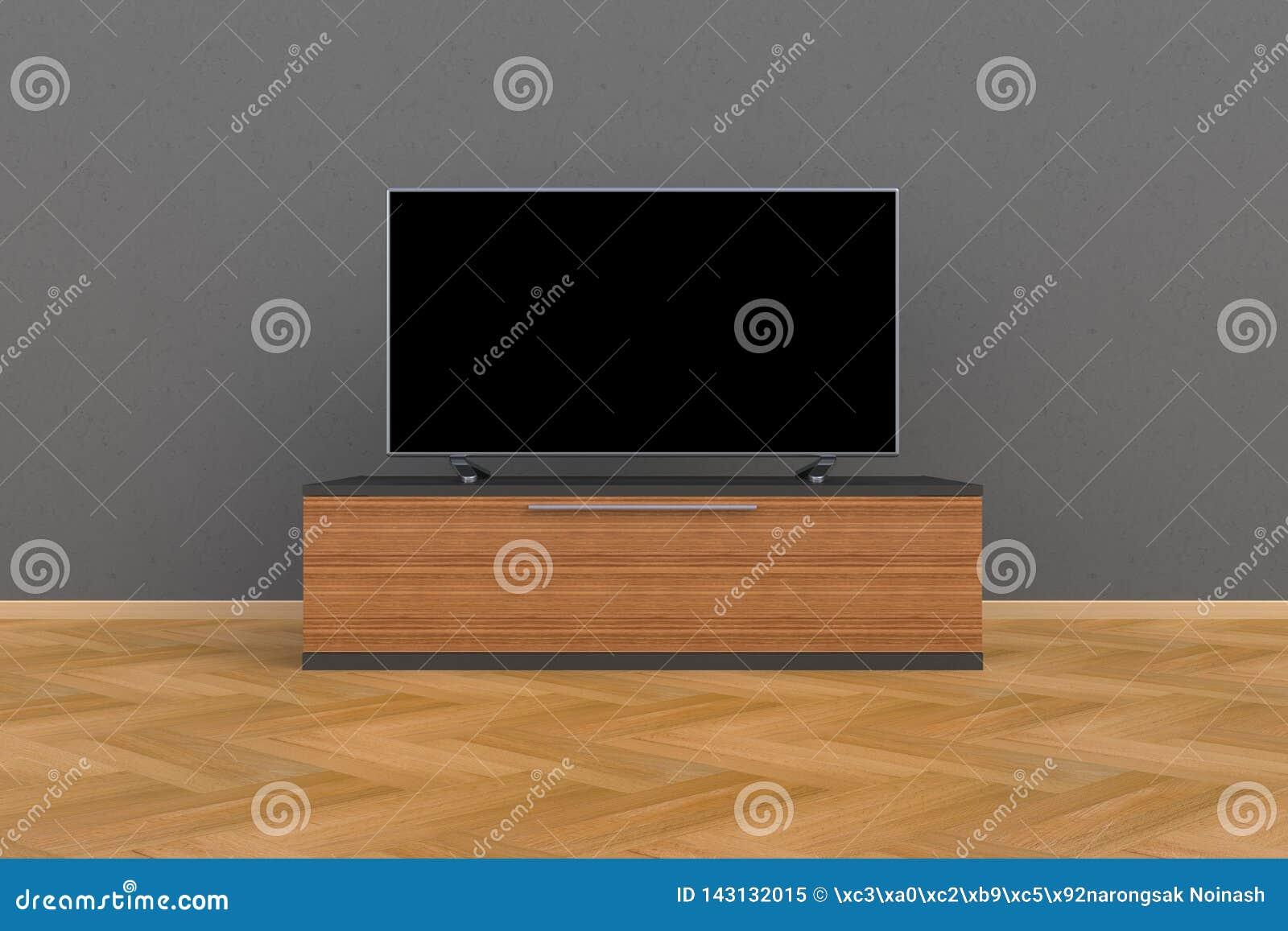 Innenraum des leeren Raumes mit Fernsehen, Wohnzimmer führte Fernsehen auf grauer Wand mit moderner Dachbodenart des Holztischs