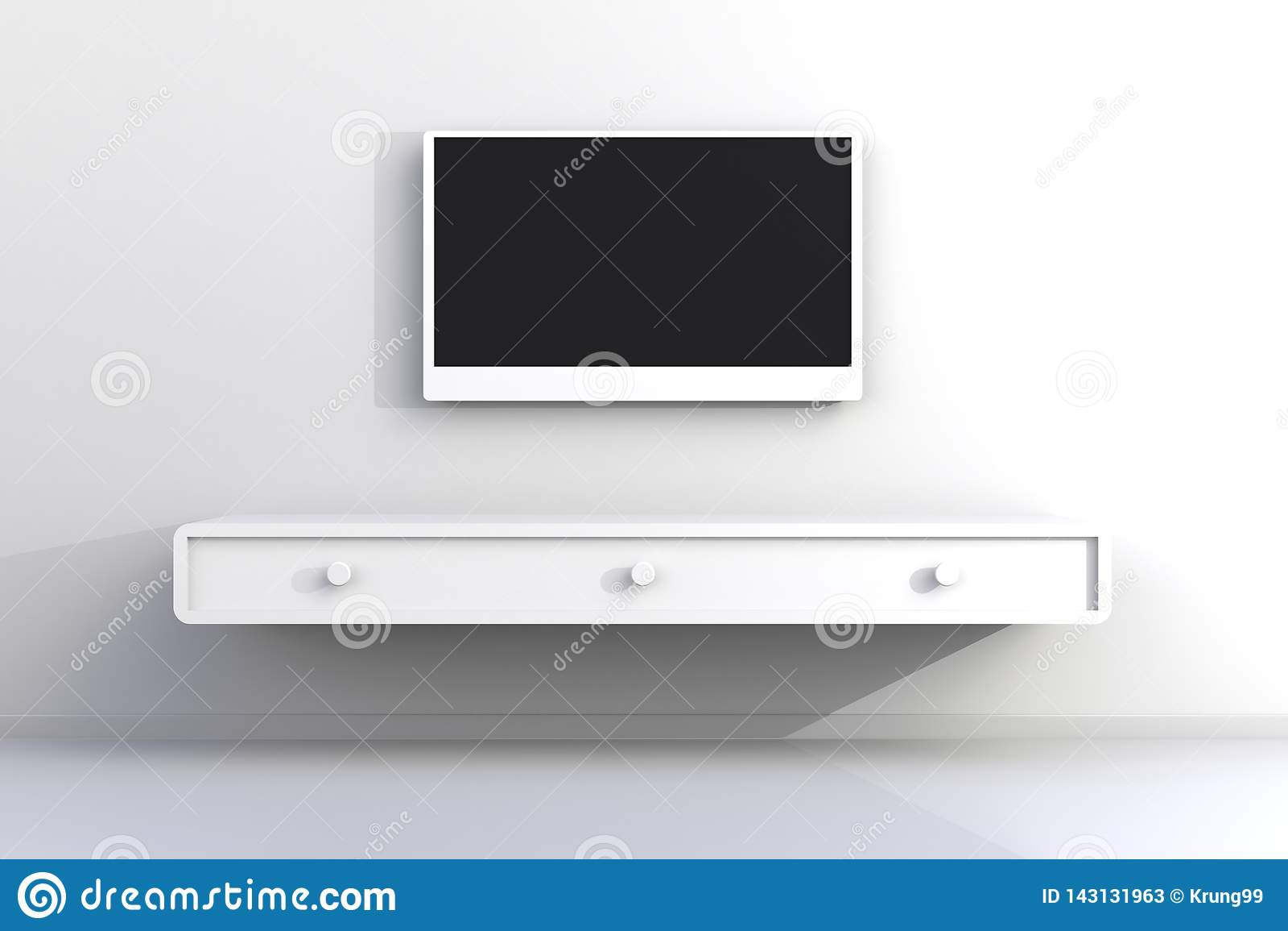 Innenraum des leeren Raumes mit Fernsehen, Wohnzimmer führte Fernsehen auf weißer Wand mit moderner Dachbodenart des Holztischs