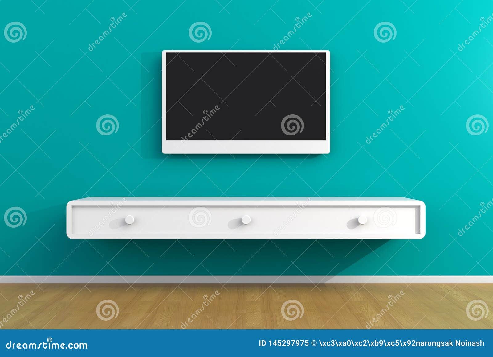 Innenraum des leeren Raumes mit Fernsehen, Wohnzimmer f?hrte Fernsehen auf blauer Wand mit moderner Dachbodenart des Holztischs