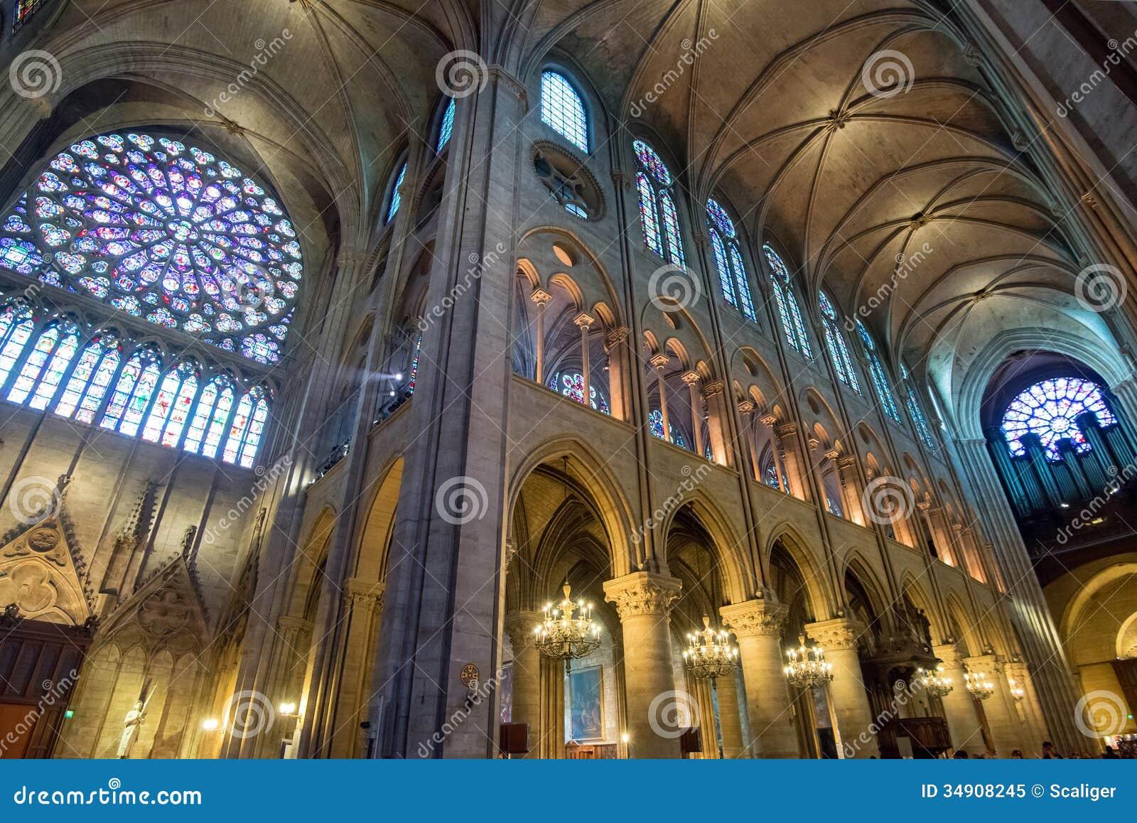 innenraum des notre dame de paris stockbild bild von religion inside 34908245. Black Bedroom Furniture Sets. Home Design Ideas