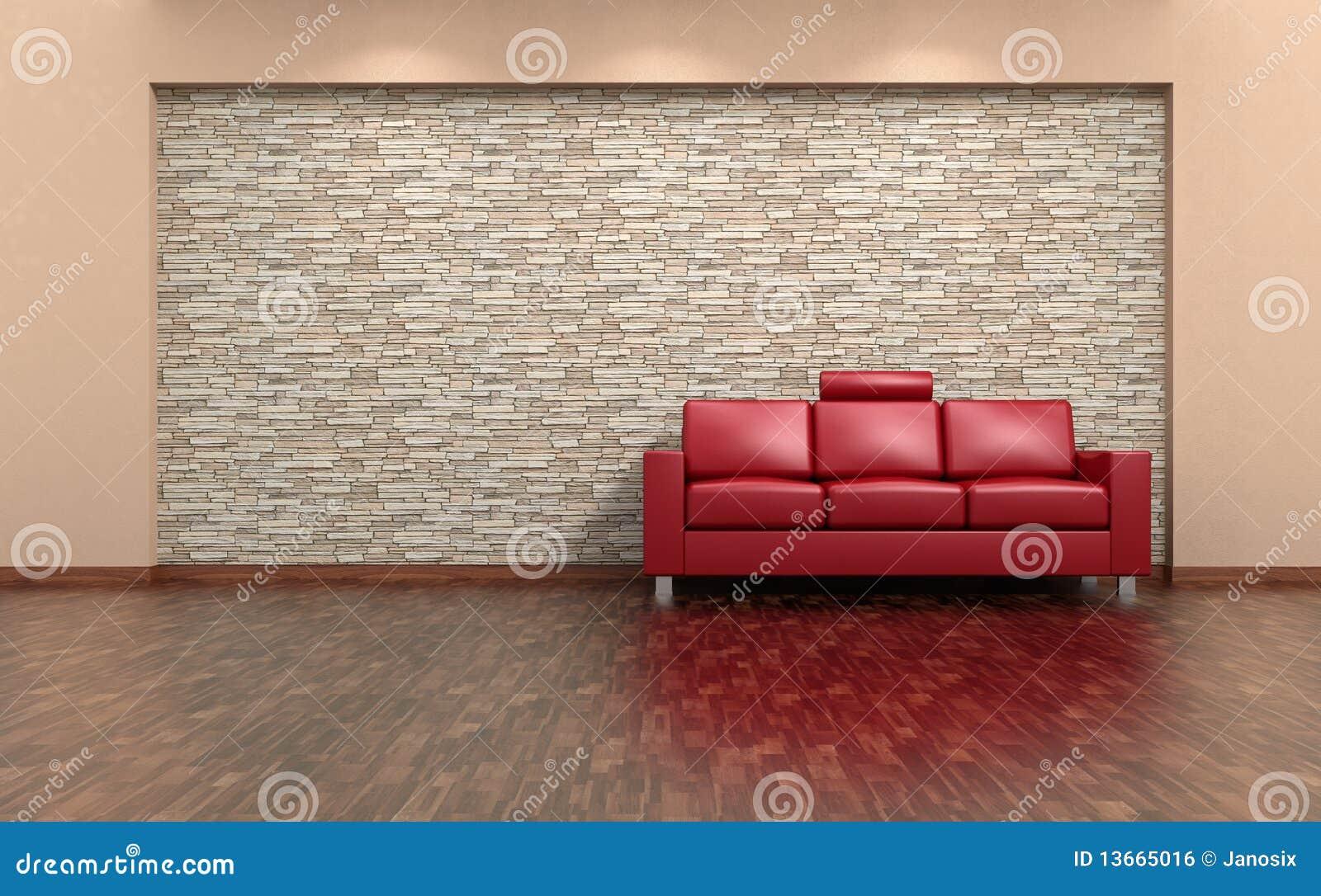innenraum des roten sofas und der steinwand stockfoto bild von feld auslegung 13665016. Black Bedroom Furniture Sets. Home Design Ideas