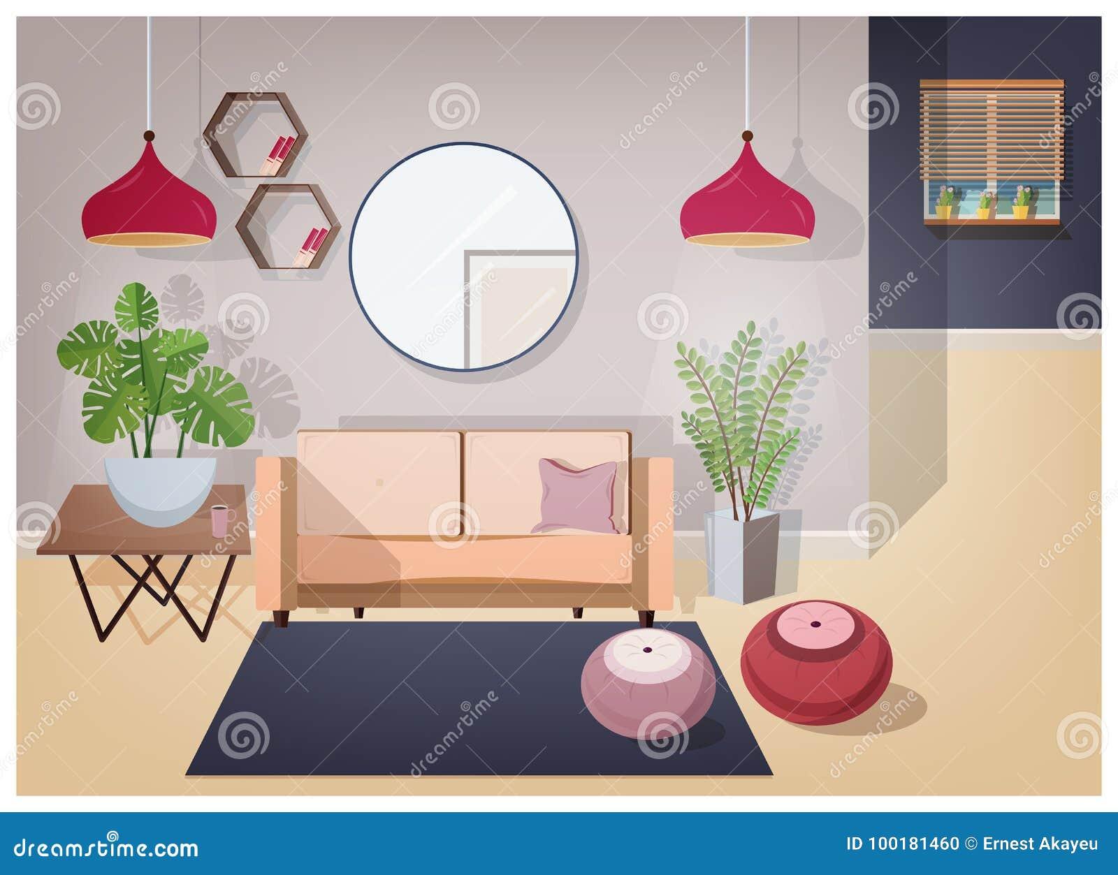 Innenraum des Wohnzimmers geliefert mit stilvollen bequemen Möbeln und Inneneinrichtung - gemütliches Sofa, Couchtisch