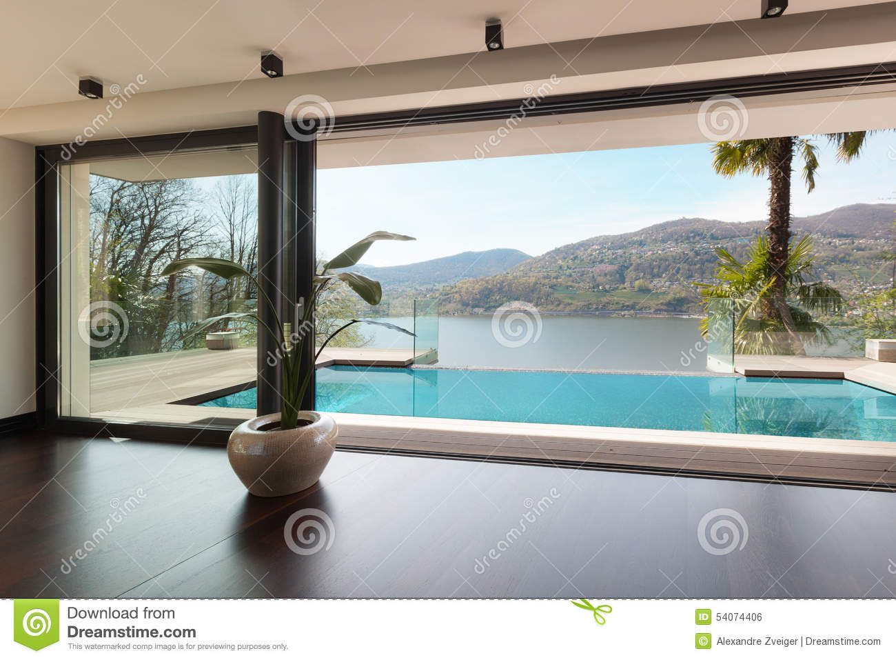 Haus Mit Pool Im Wohnzimmer : Contemporary Living Room Pool View