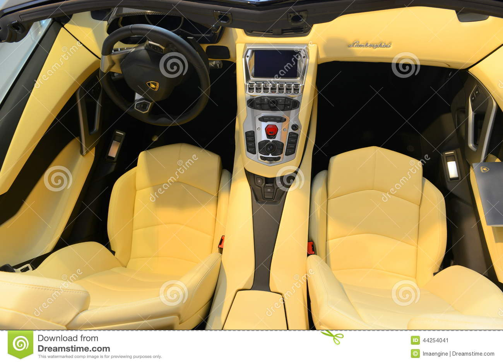 Innenraum Lamborghinis Aventador J Spyder Redaktionelles Foto Bild