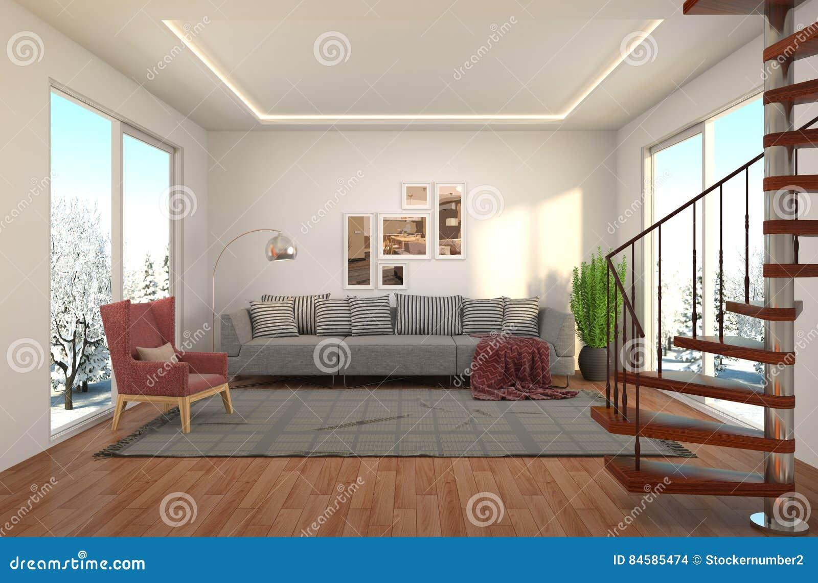 Fenster innenraum  Innenraum Mit Großem Fenster Abbildung 3D Stock Abbildung - Bild ...