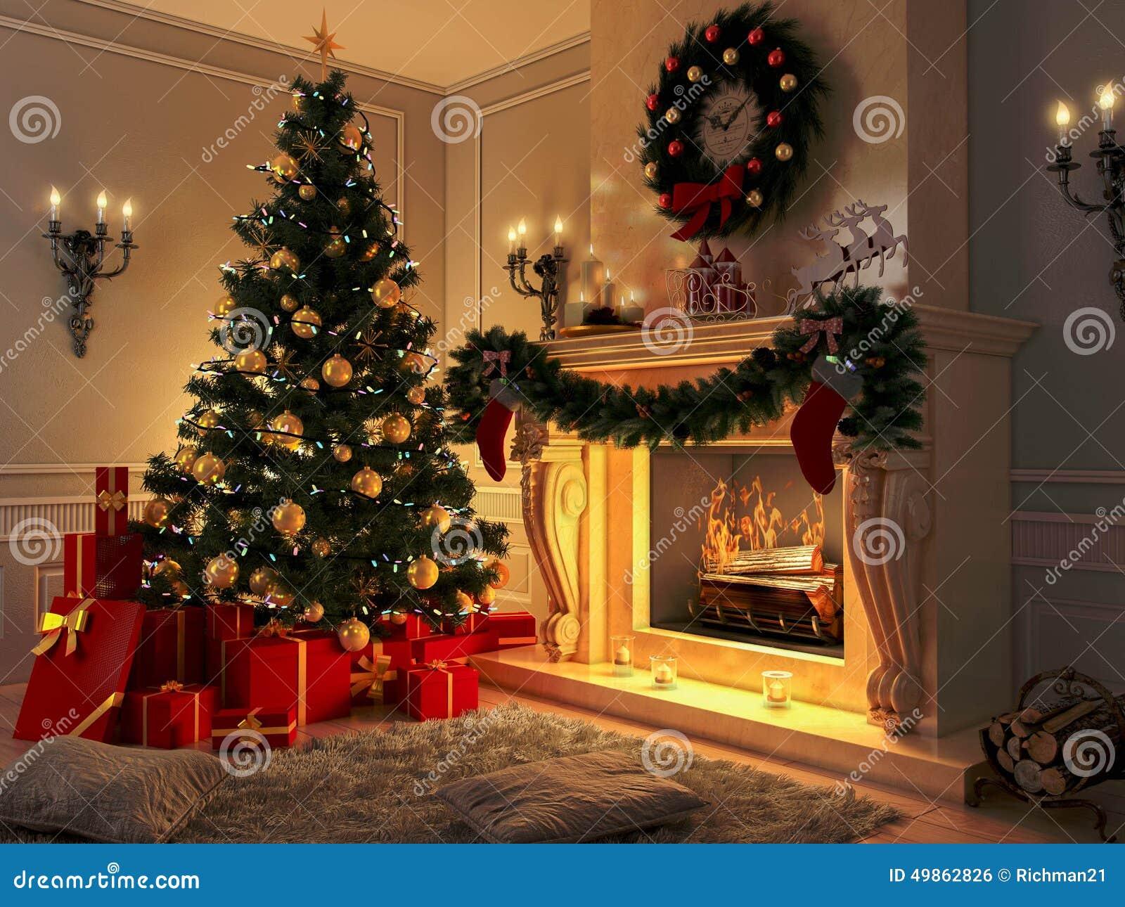 innenraum mit weihnachtsbaum geschenken und kamin. Black Bedroom Furniture Sets. Home Design Ideas