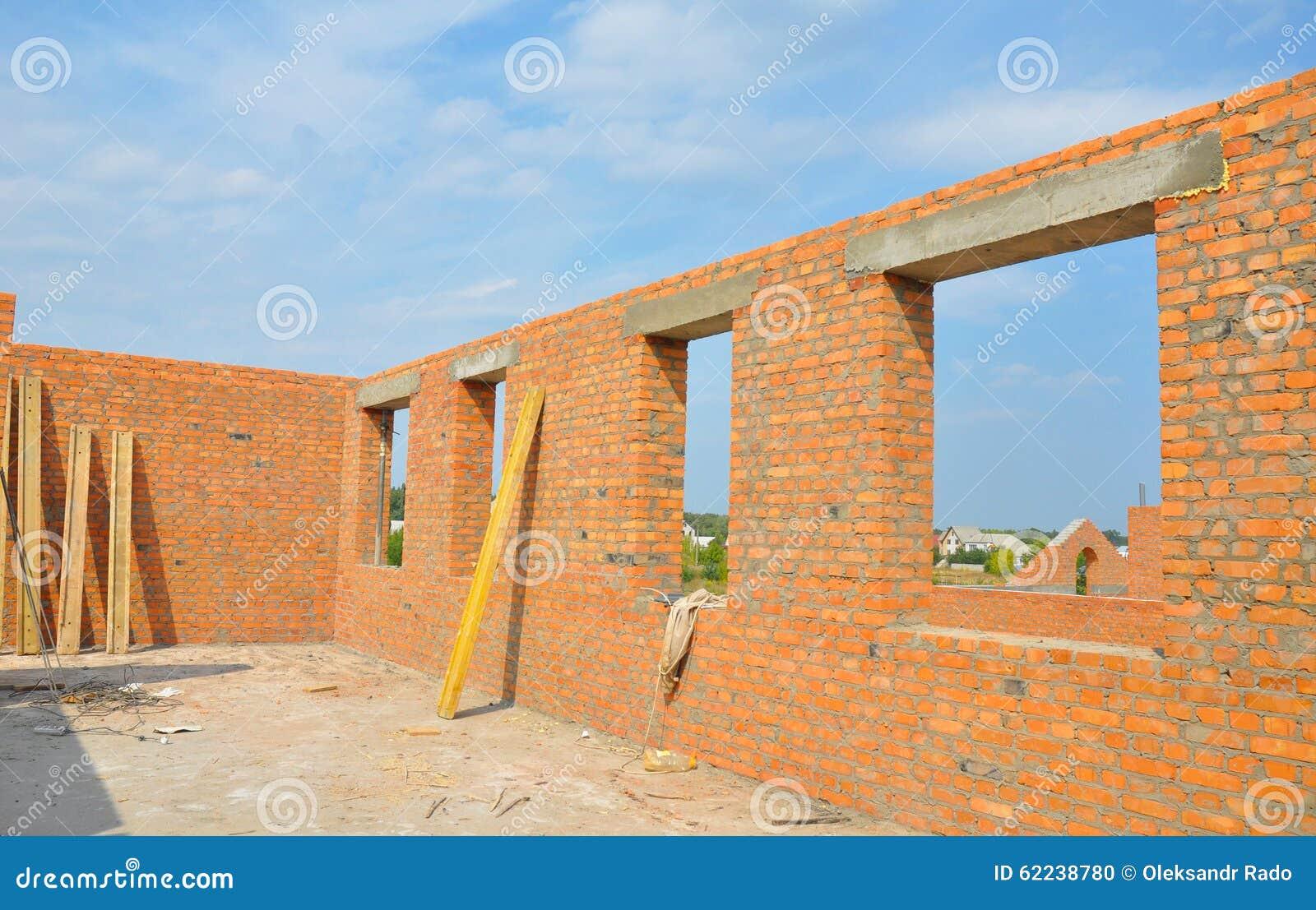 Fabulous Innenraum Von Hausmauern Eines Unfertigen Roten Backsteins Im Bau JN12
