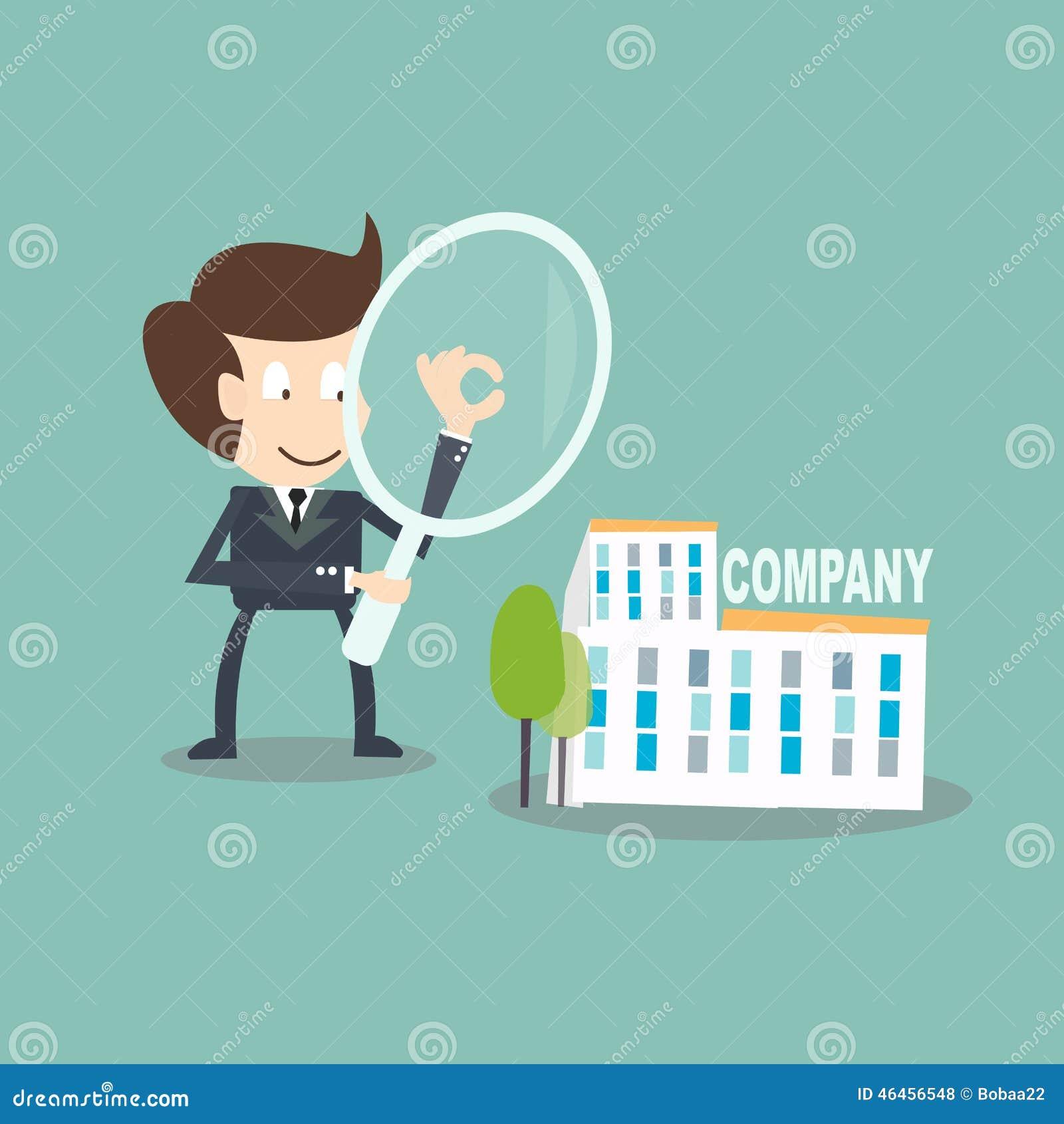 Innenrevisionskonzept - Geschäftsmann mit Vergrößerungsrechnungsprüfung auf Firma