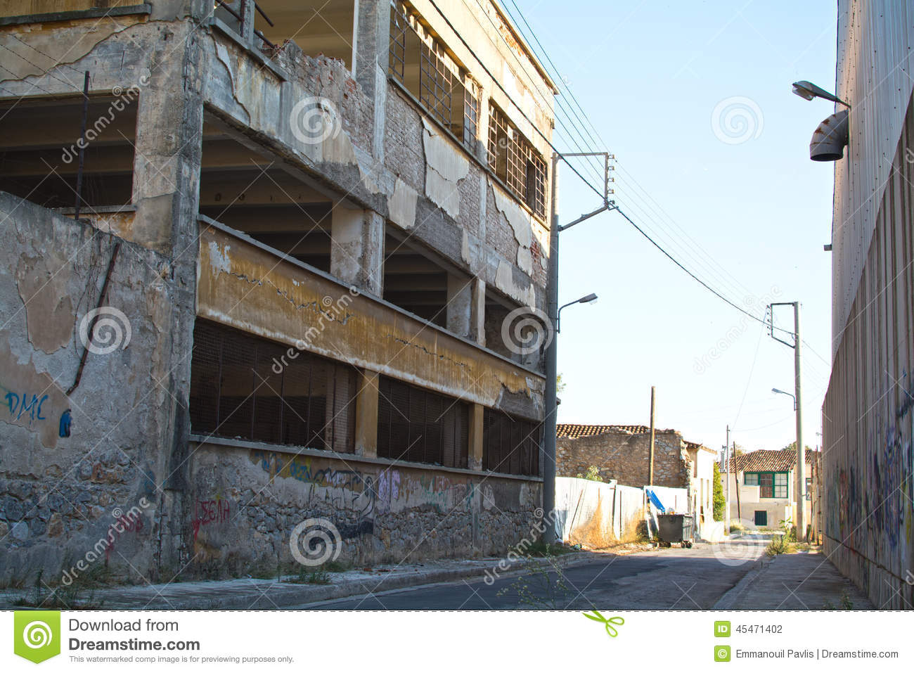 Inner City Ghetto Street View With Abandoned Buildings
