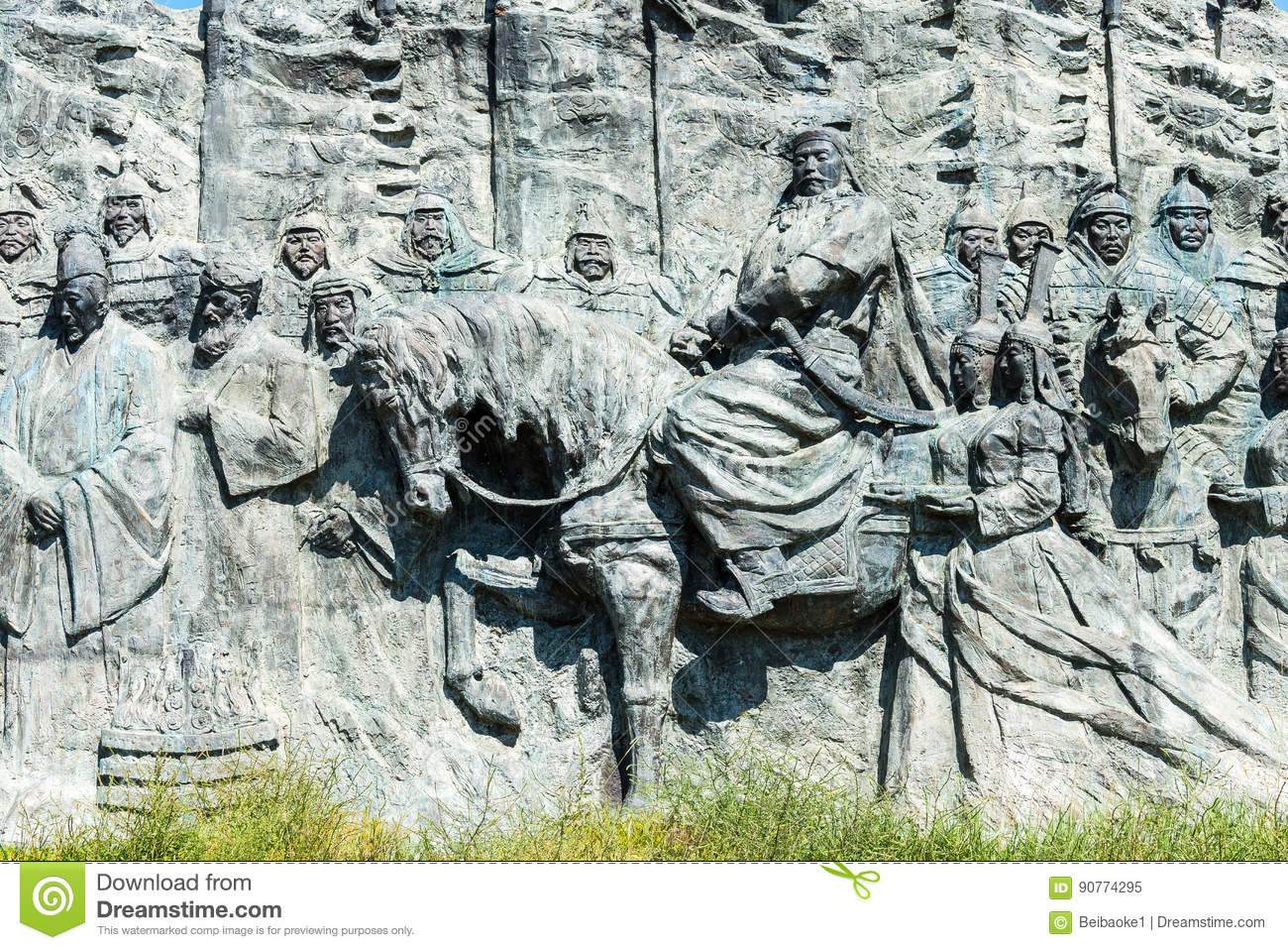 INNER MONGOLIA, CHINA - Aug 10 2015: Relief at Site of Xanadu (World Heritage site). a famous historic site in Zhenglan Banner, X