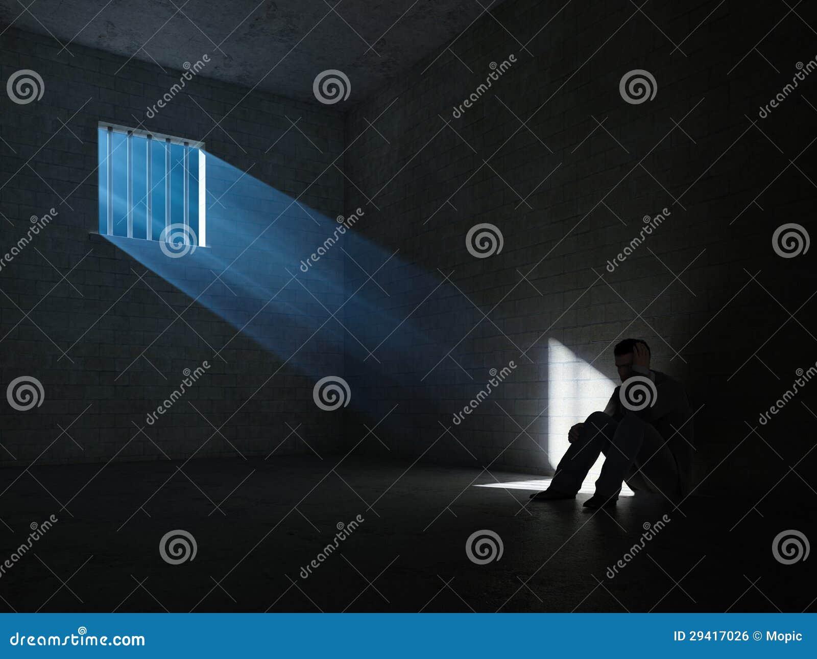 Innerhalb einer dunklen Gefängniszelle