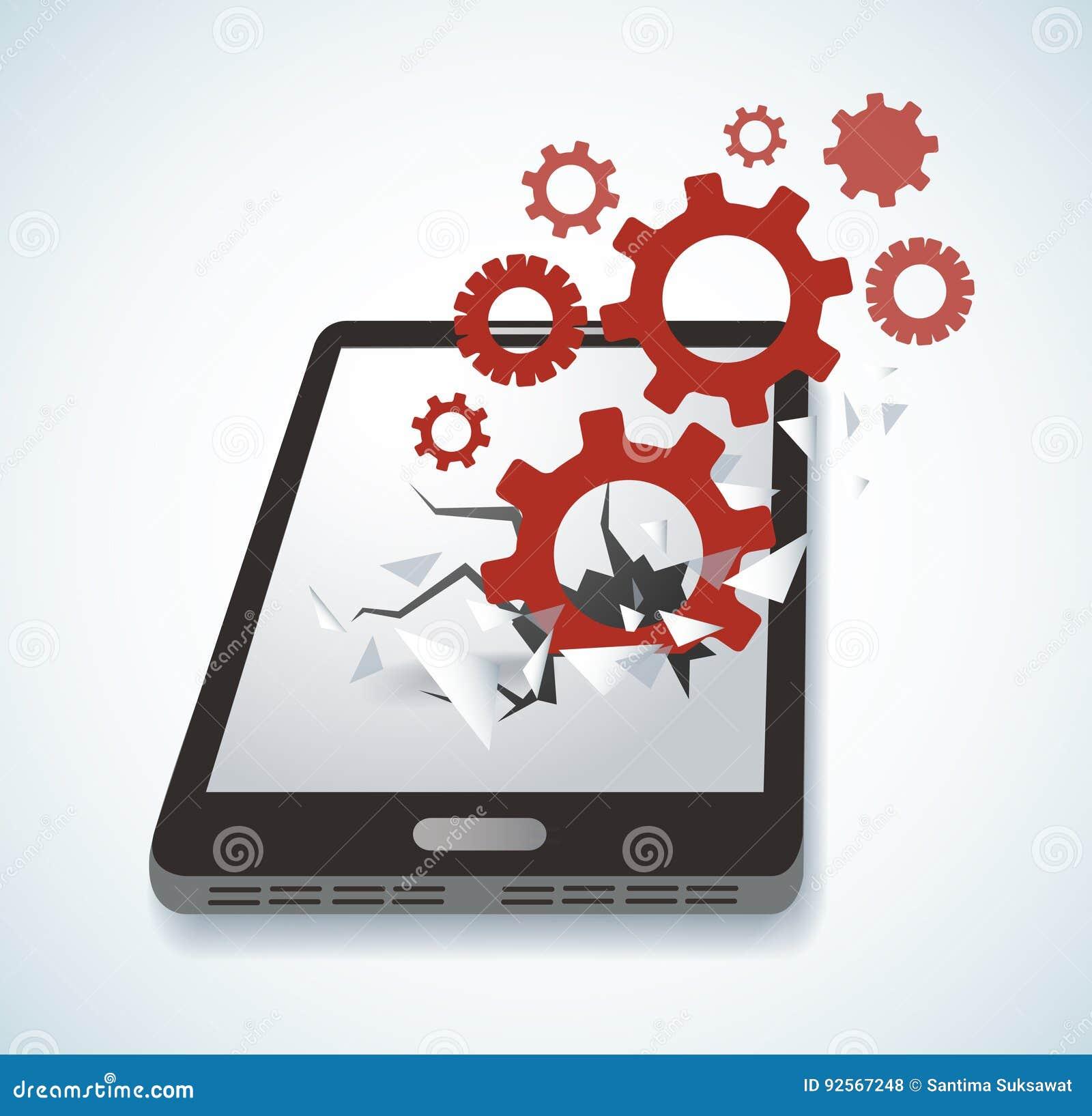 Innesta l icona che attraversa il vettore dello schermo dello smartphone