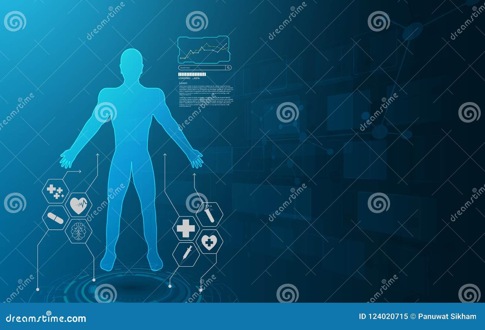 Innovat virtual dos cuidados médicos do sistema futuro do holograma da relação de Hud