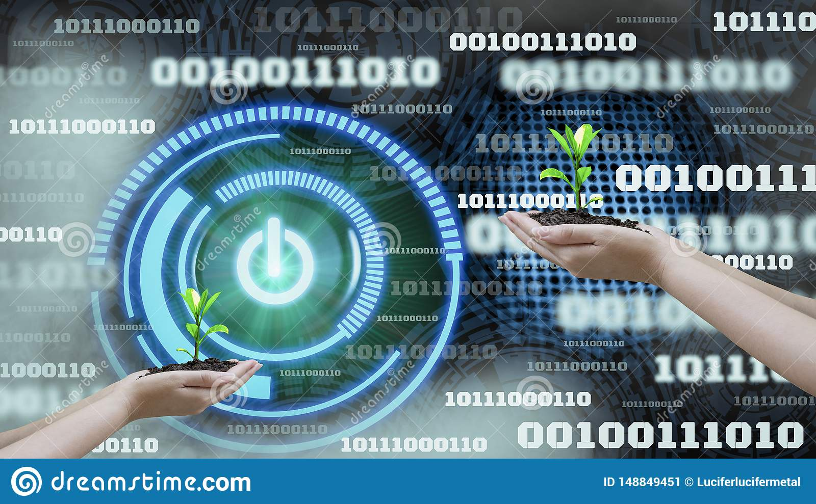 Innovation futuristic digital data binary code background technology ,with Switch on-off and hand holding seedlings, Concepts