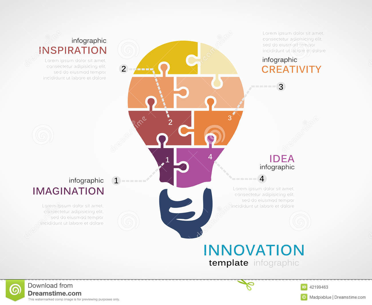 Innovation infographic template with light bulb made out of puzzle ...