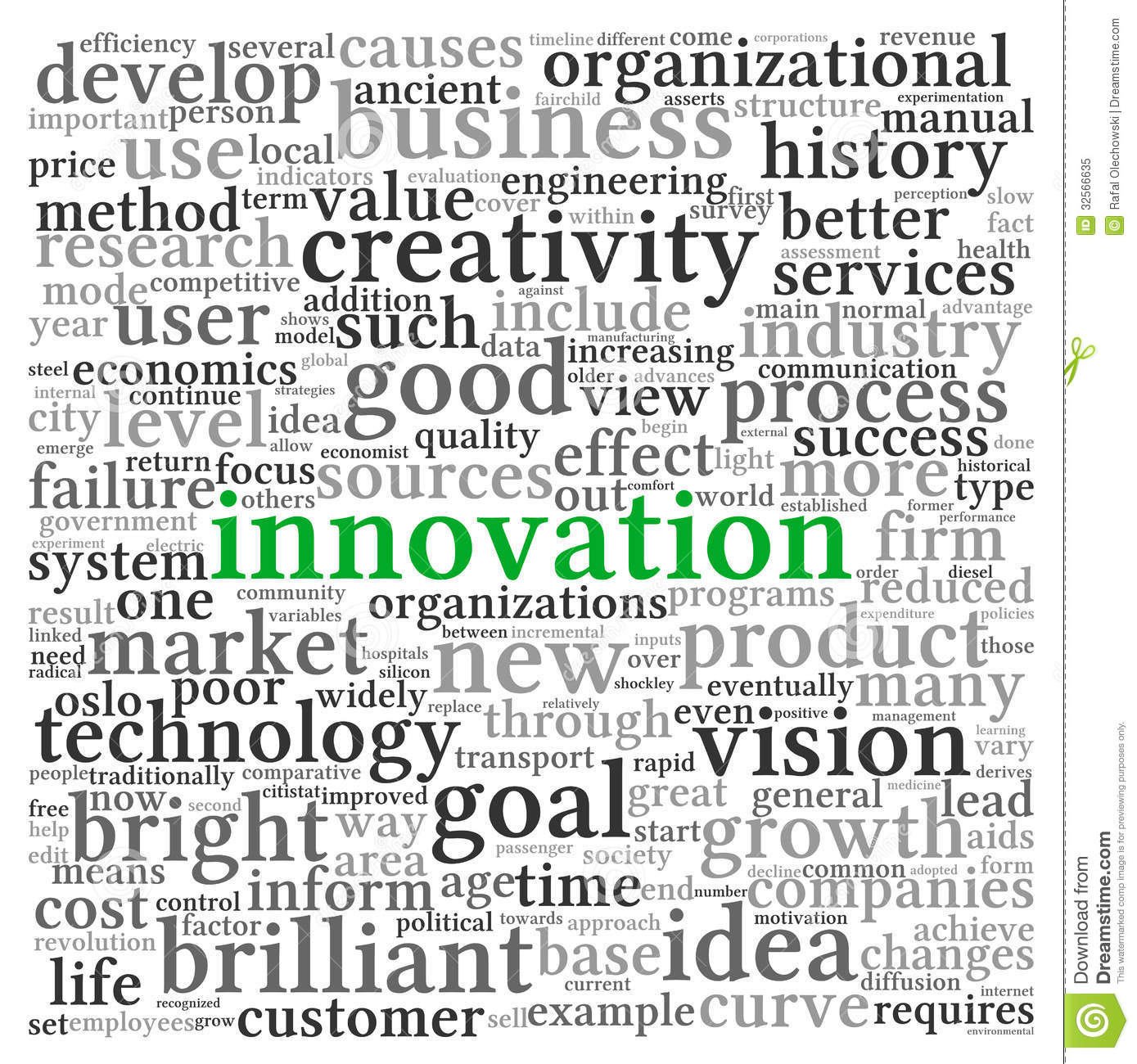 technology innovation concept words related tag cloud royalty