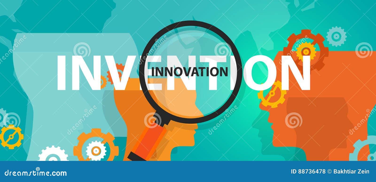 Innovation vs uppfinningbegrepp av den tänkande idérika meningen för analysidé