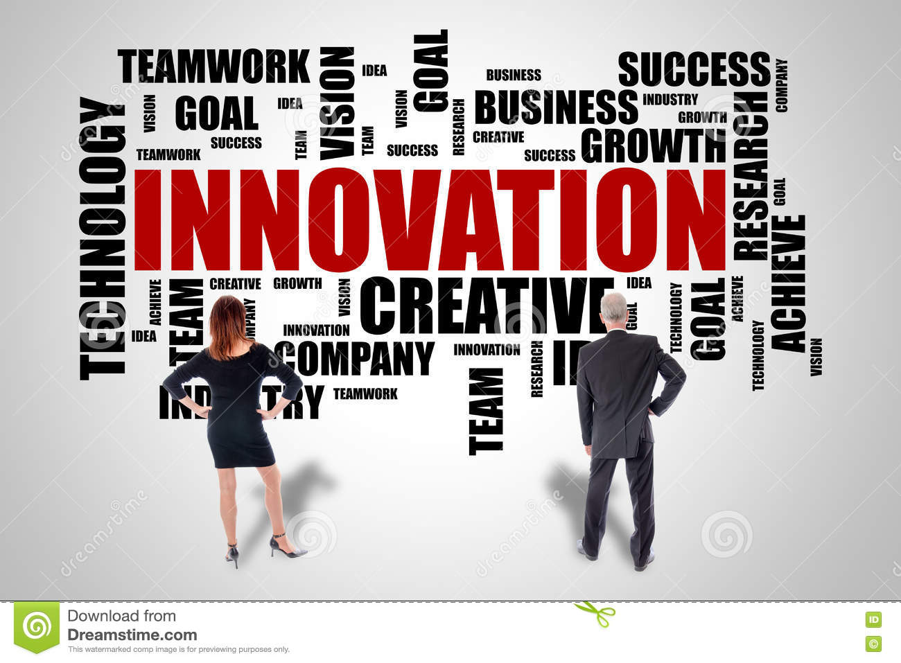 Innovation word cloud concept watched by business people