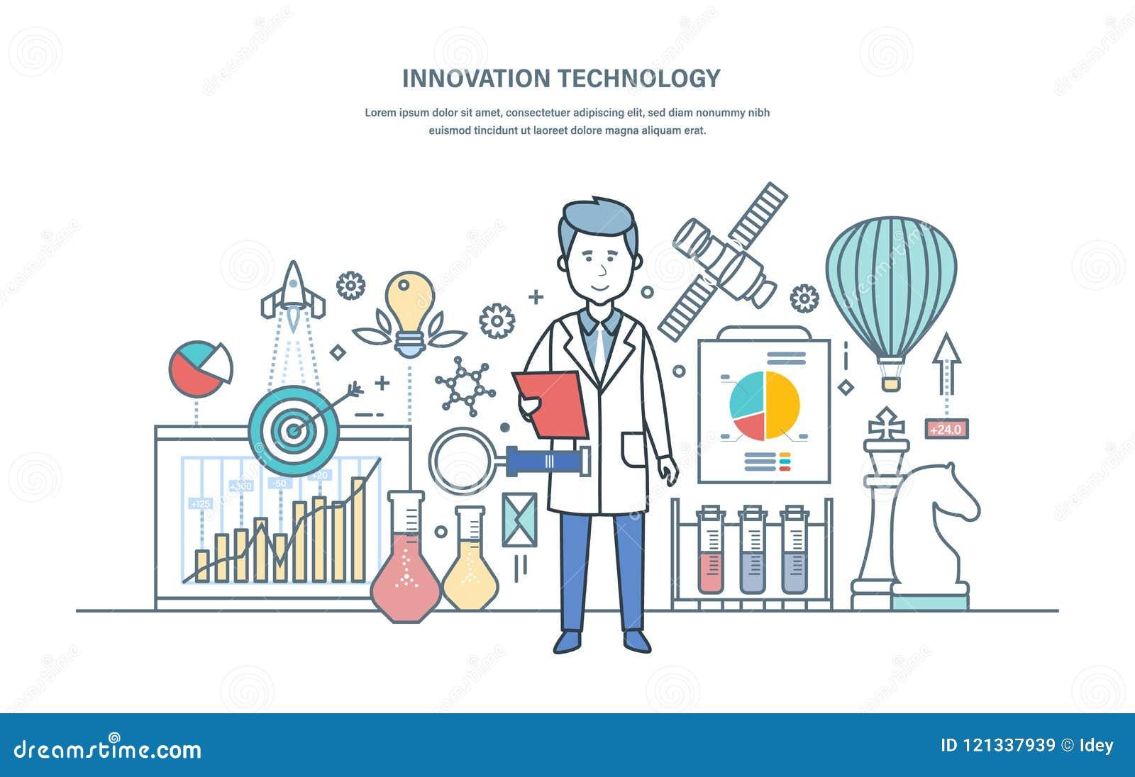 Innovationteknologi Inledning av forskninglösningar, vetenskapliga arbeten, idérikt tänka