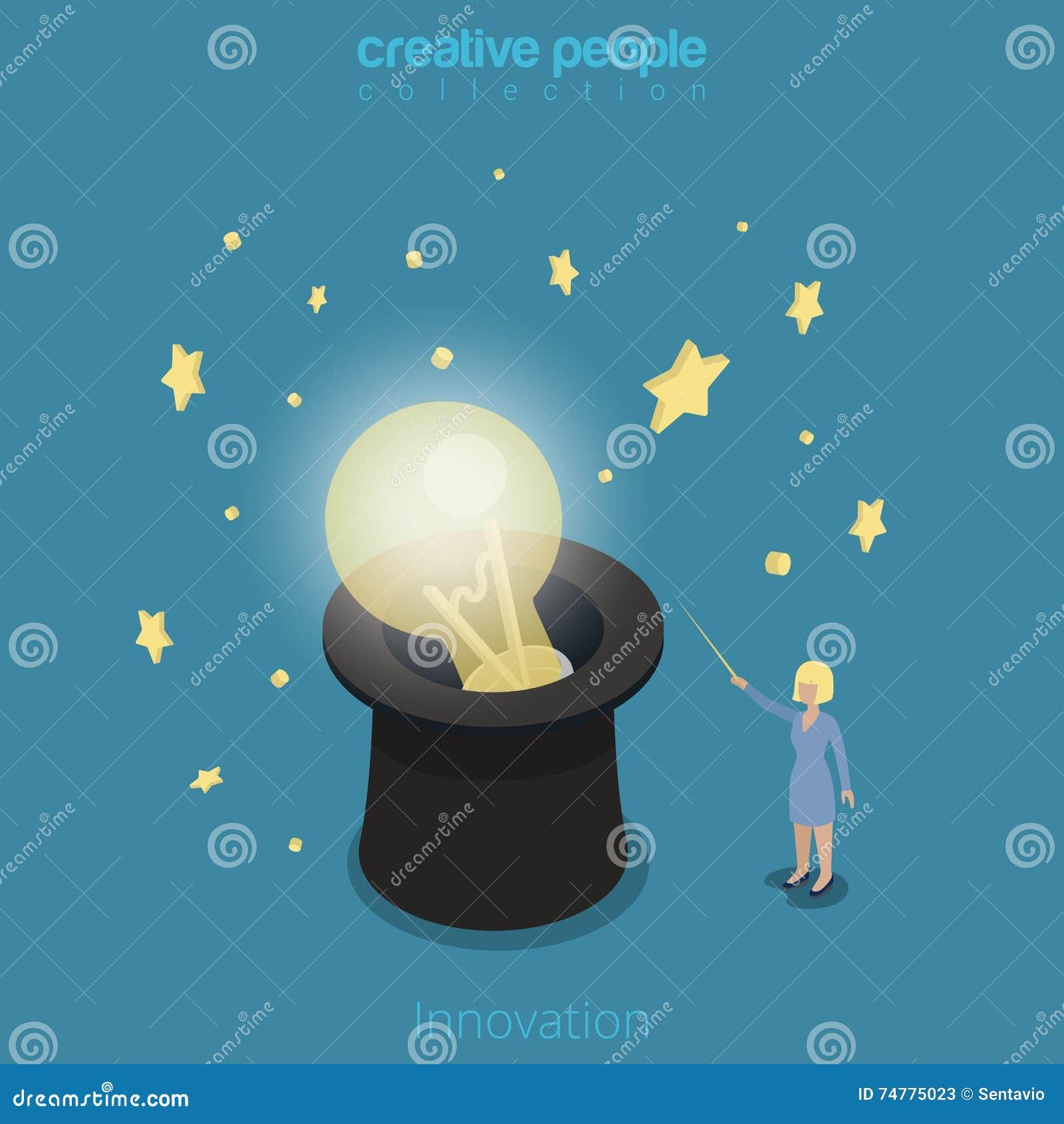Innowaci 3d Płaskiej isometric kobiety lampowa kapeluszowa magia