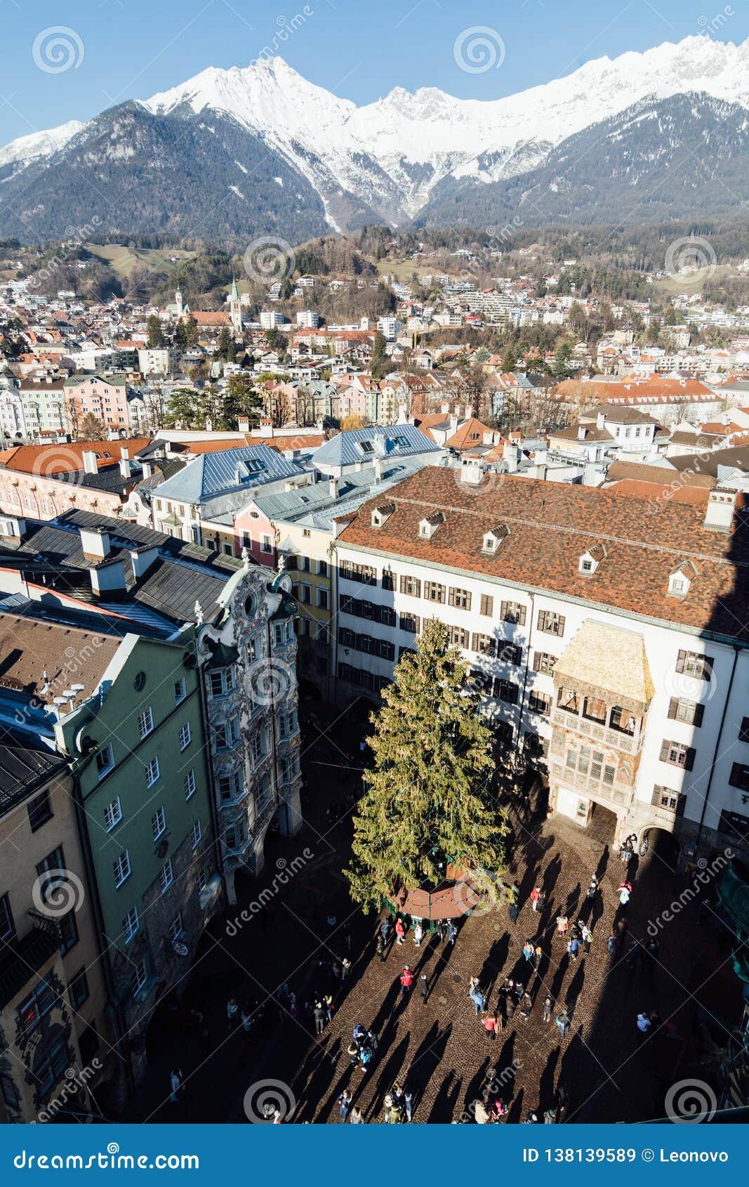 INNSBRUCK, AUSTRIA - DECEMBER 2018: View From Stadtturm Tower Over The Town Old Center Editorial ...