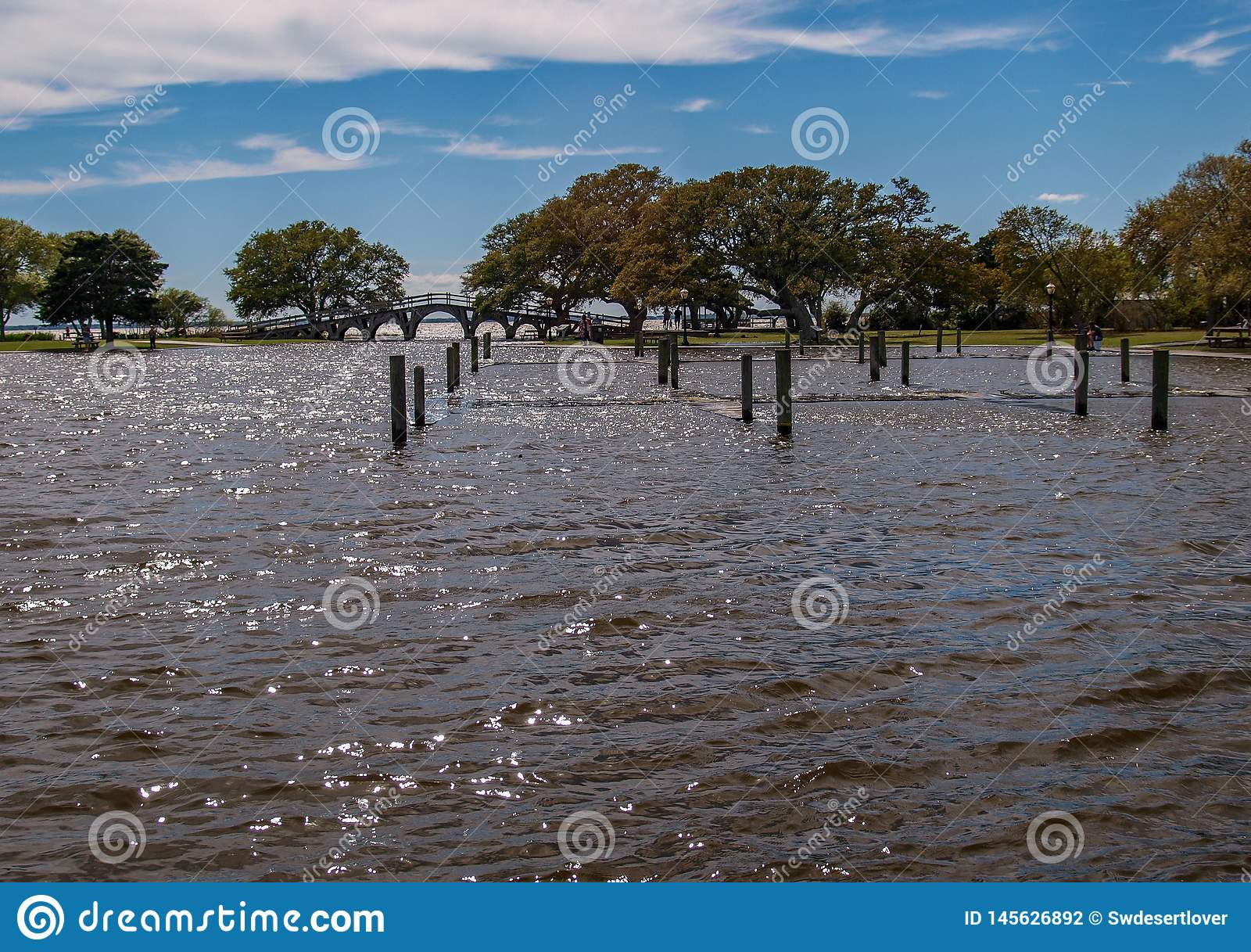 Inondation de parc d h?ritage de Currituck apr?s temp?te