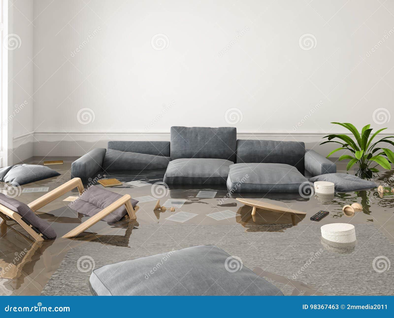 Inondation en appartement tout neuf rendu 3d