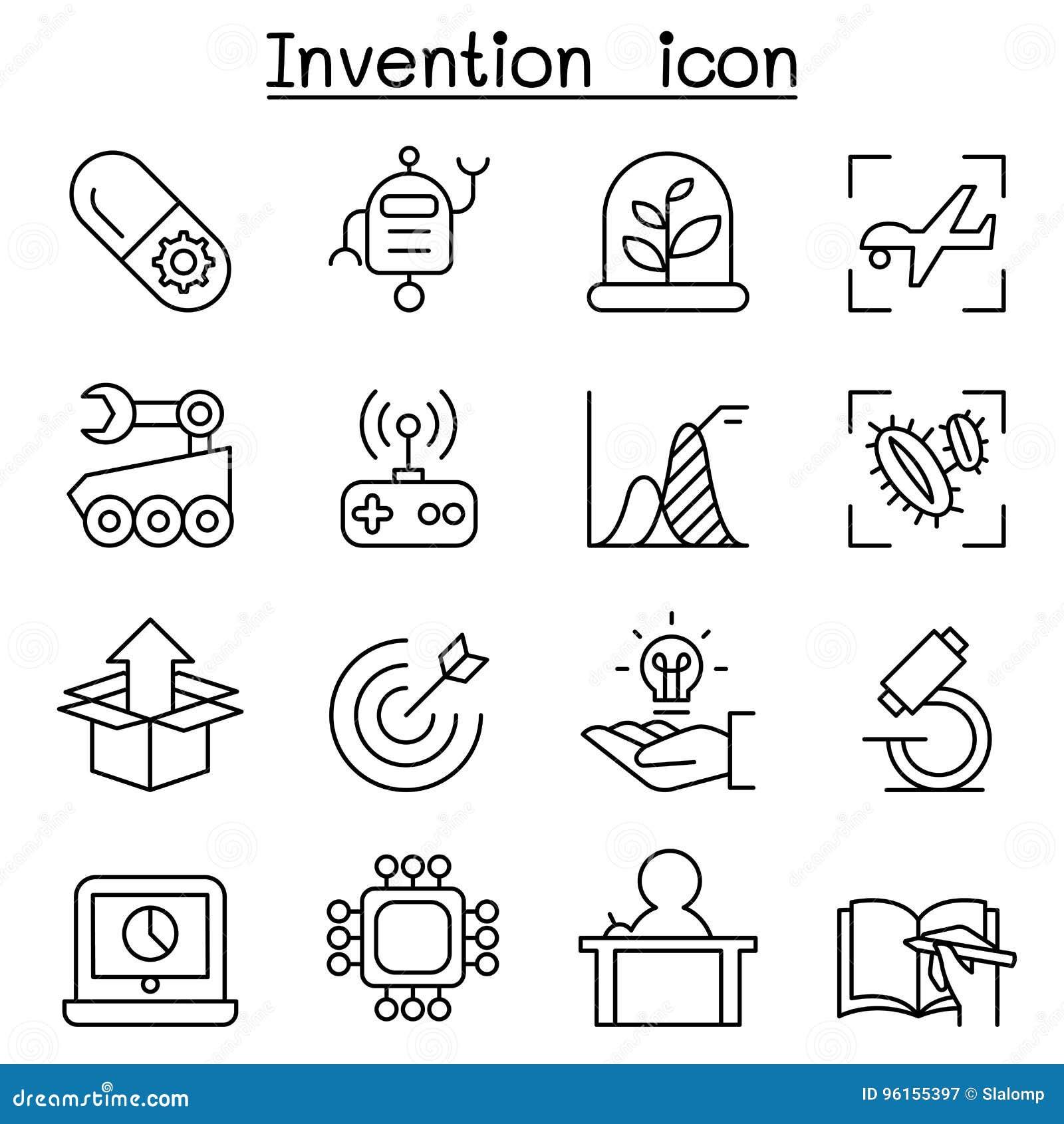 A inovação & o ícone criativo do conceito da ideia ajustaram-se na linha estilo fina
