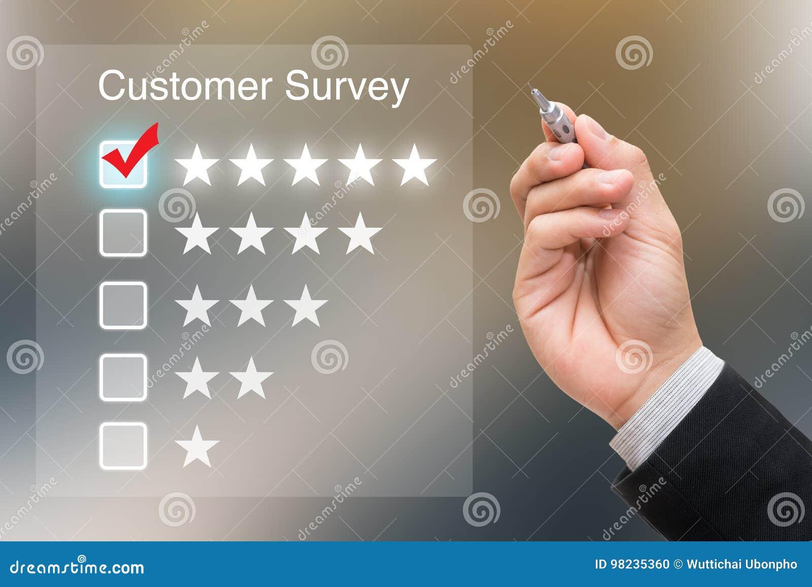 Inquéritos aos clientes de clique da mão na tela virtual
